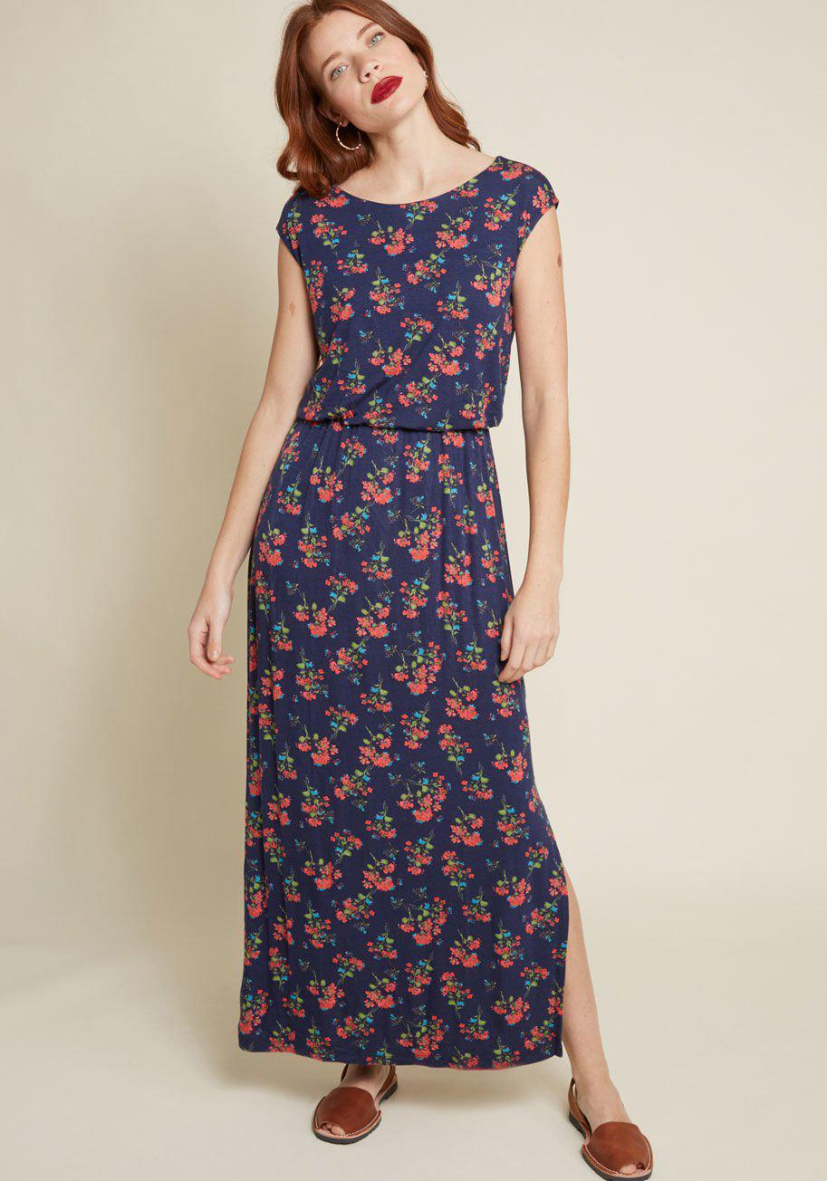 7220e78a0e2c0f ModCloth Ease And Opportunity Knit Maxi Dress in Blue - Lyst
