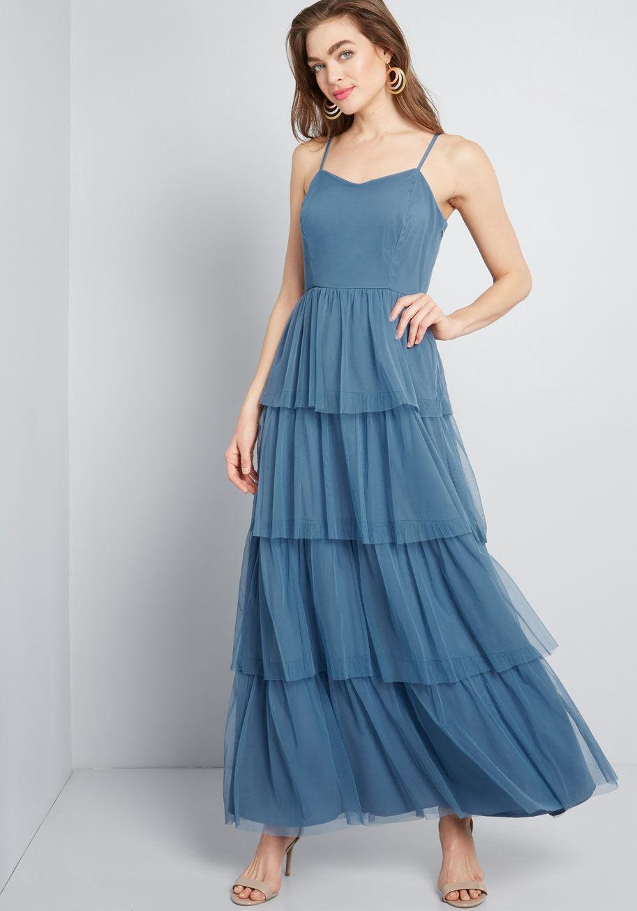 0903950e005 Lyst - ModCloth Heavenly Haute Tiered Maxi Dress in Blue