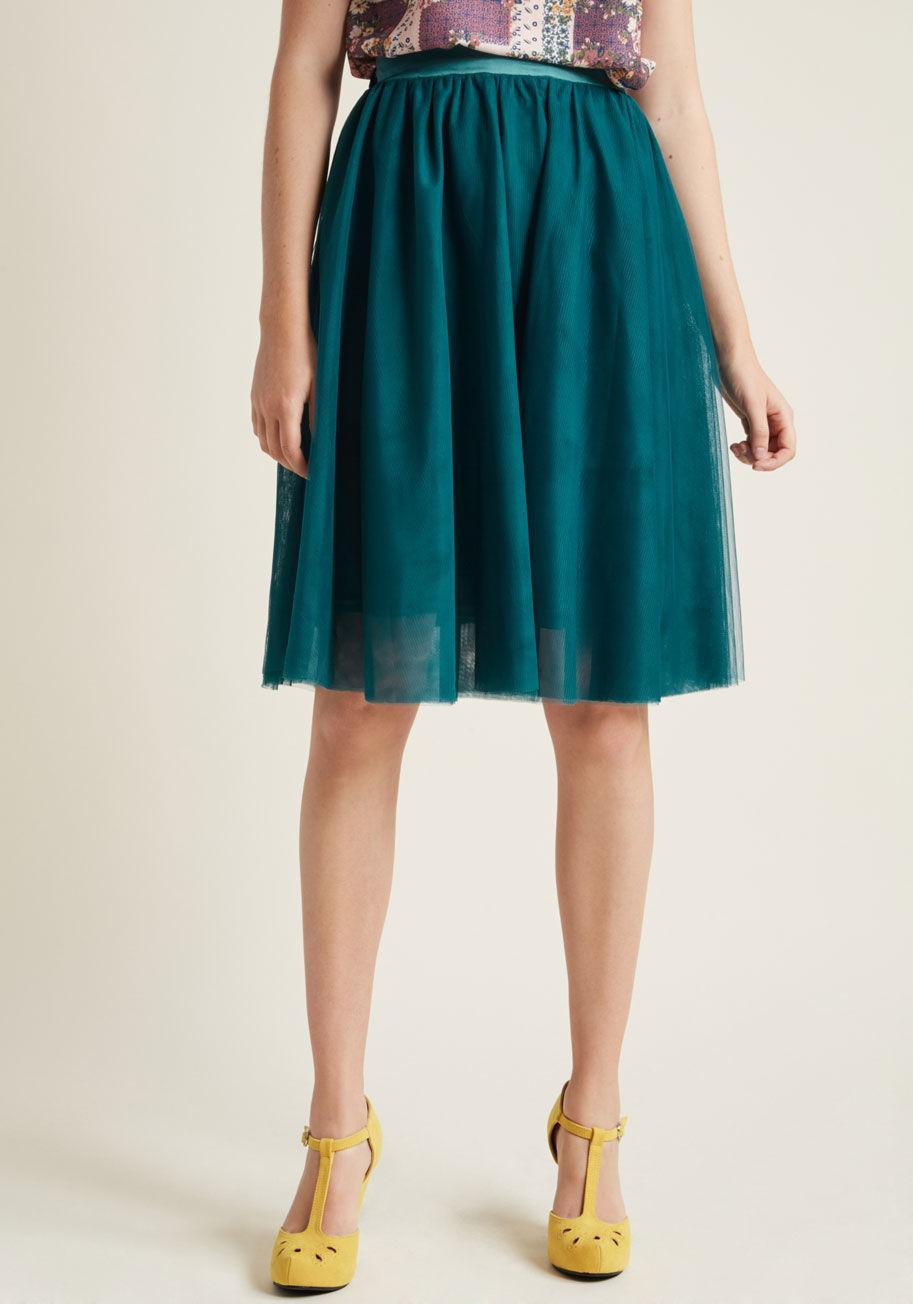 1d392b117 Lyst - ModCloth Tulle Of The Trade A-line Skirt In Peacock in Green