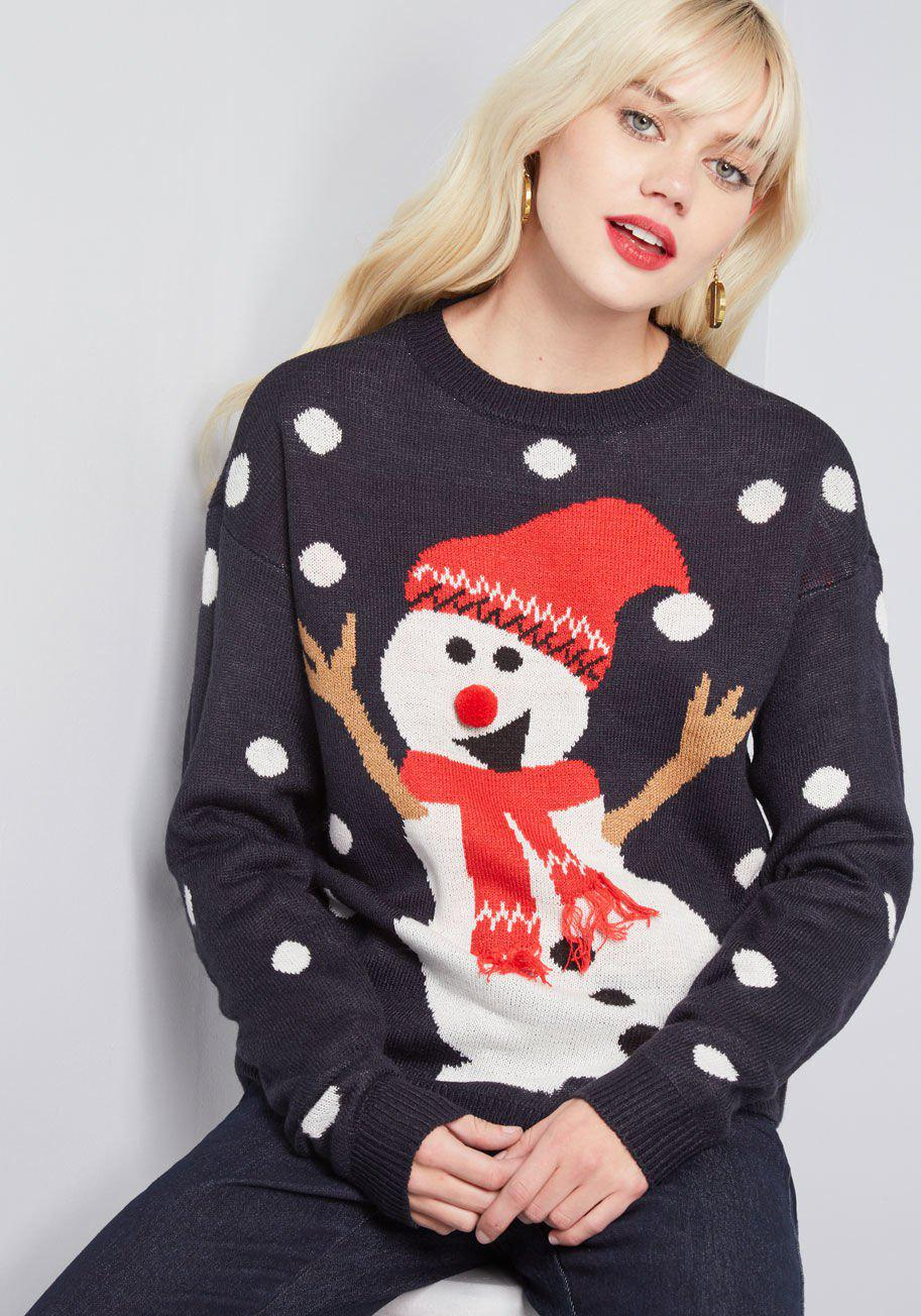 Lyst - Modcloth Drifts Of Imagination Snowman Sweater in Green ffeb93a1b
