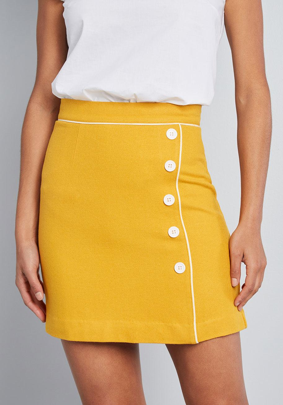 15cb1931848e Lyst - ModCloth Own The Era Mini Skirt in Yellow