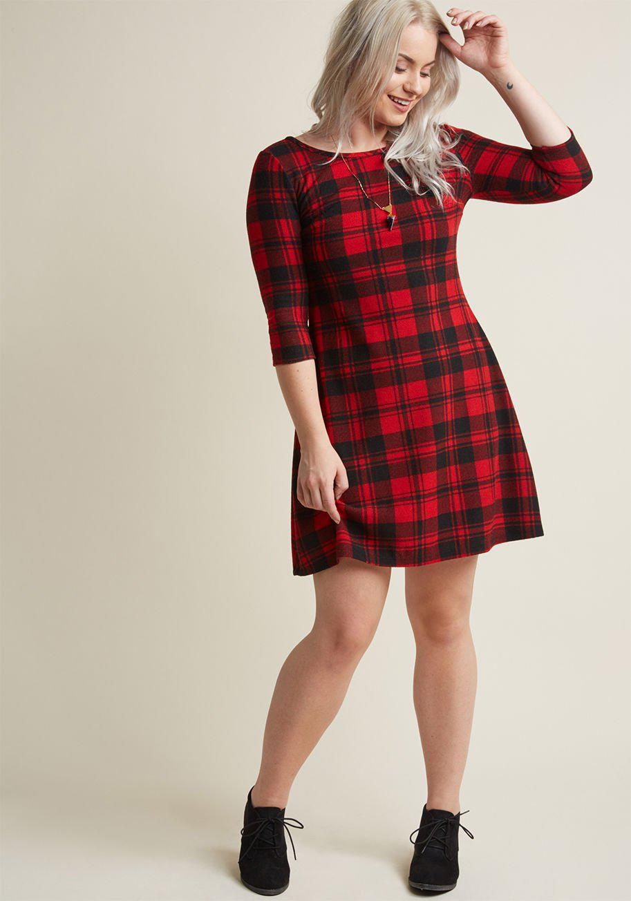 474bf305d3b Lyst - ModCloth Cozy Plaid Sweater Dress in Red