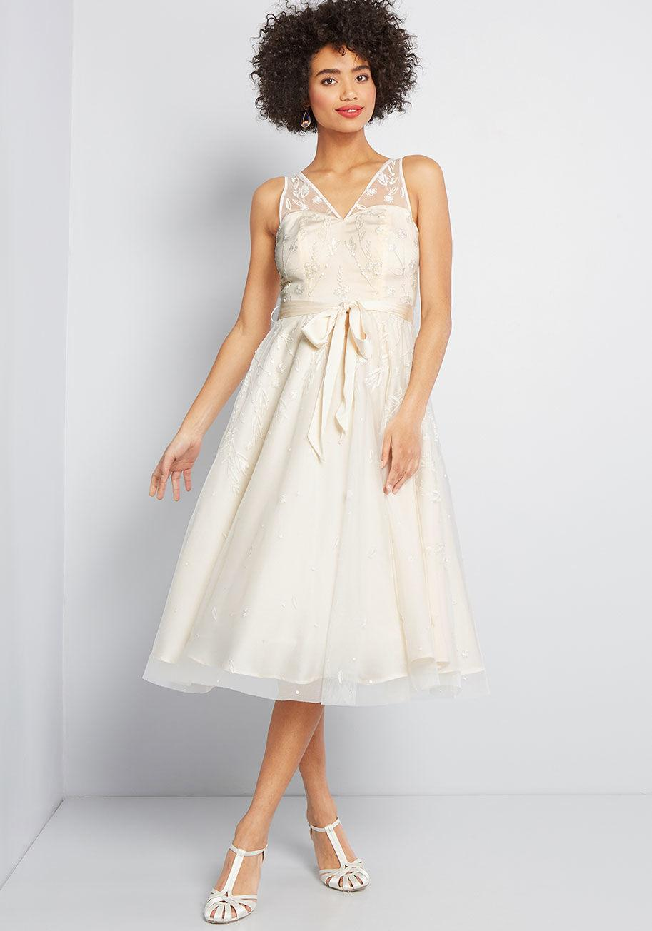 7fd61d8c153 Lyst - ModCloth Flawless For The Occasion Midi Dress in White
