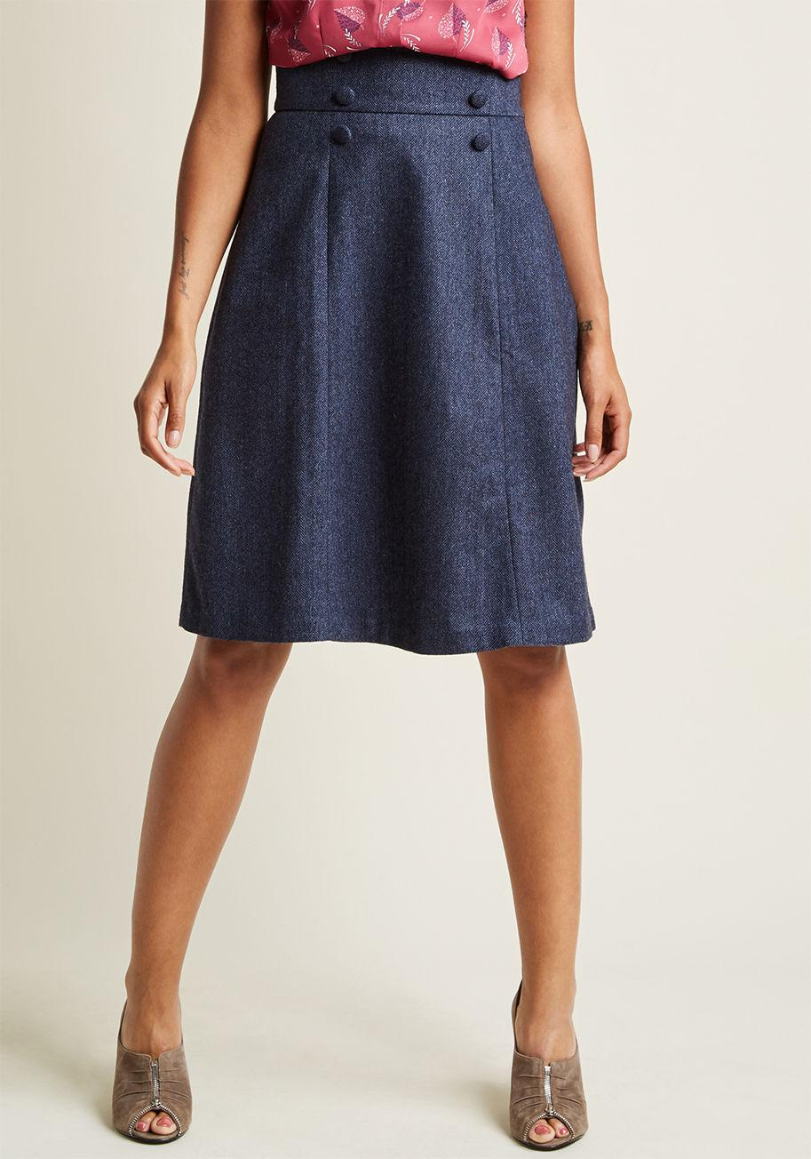 Modcloth High-waisted Midi Skirt With Buttons in Blue