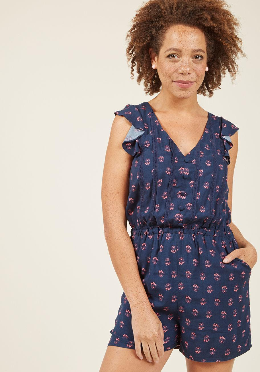 333a3e7c79c7 Lyst - ModCloth Anywhere And Everywhere Romper In Navy Floral in Blue