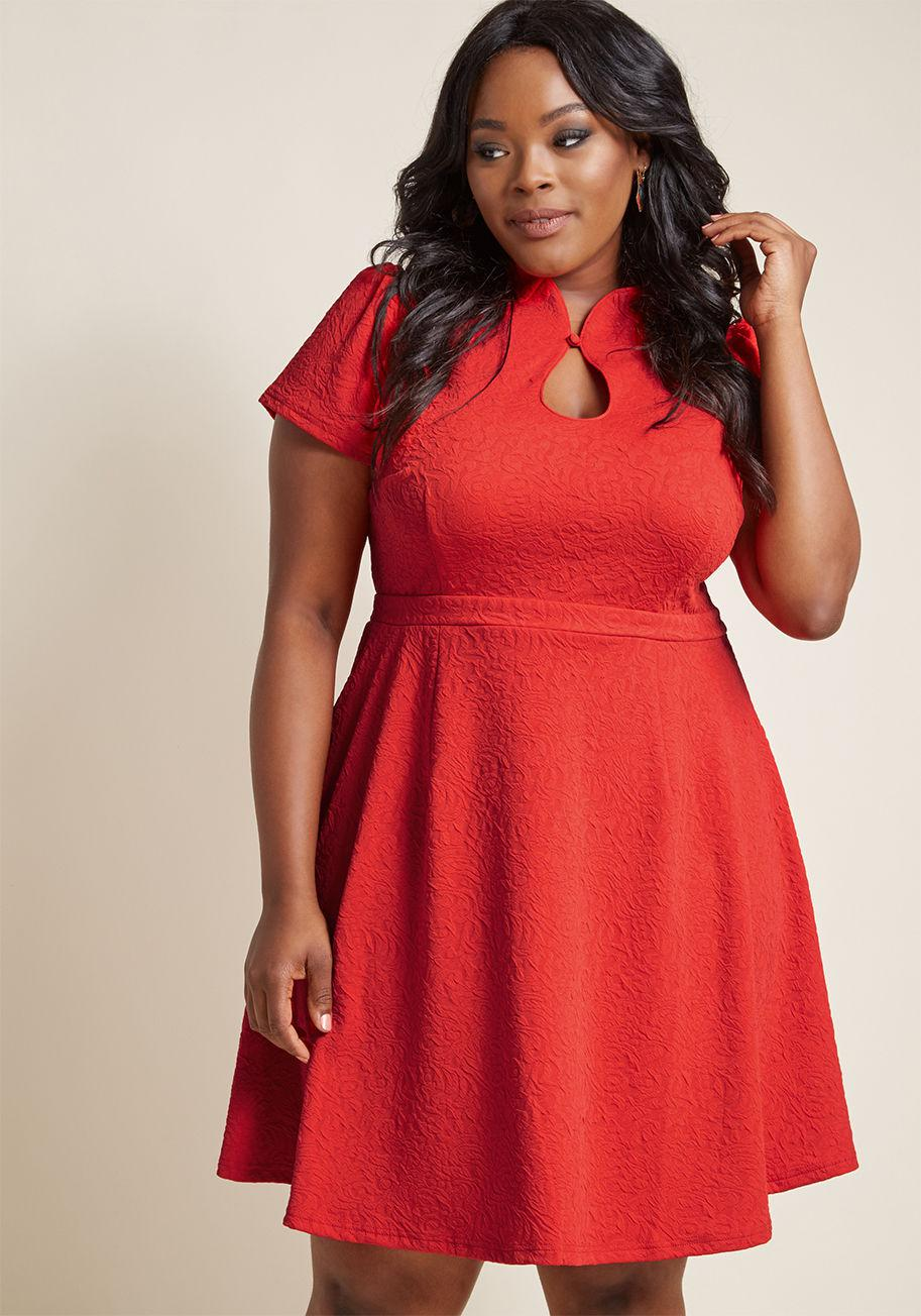 dc8cff43c7 Lyst - ModCloth High Society Style Short Sleeve Dress In Poinsettia ...