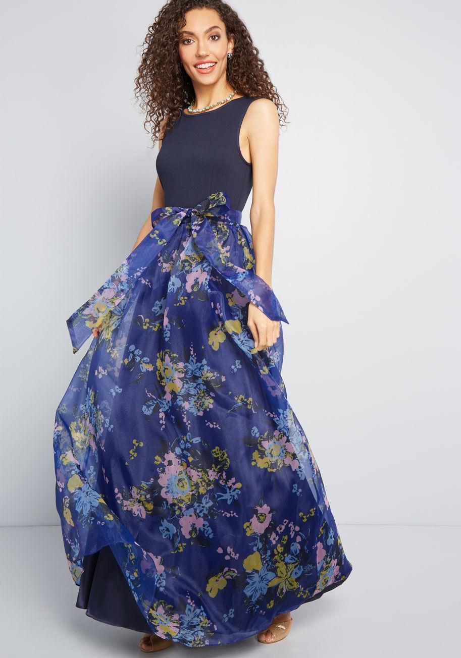 6cd6ecba5067f7 Lyst - ModCloth Array Of Invitations Maxi Dress in Blue