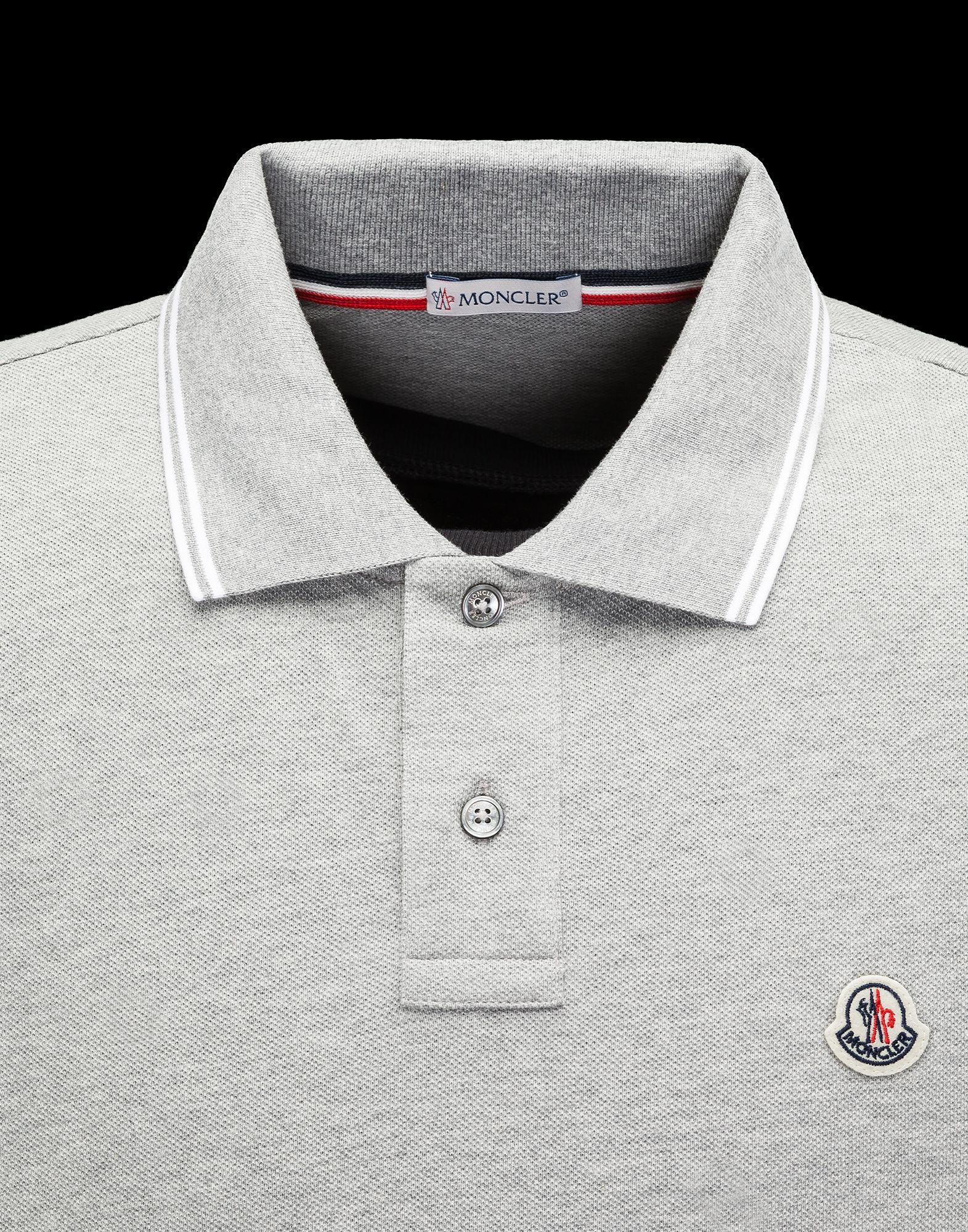44b3ba39d2d07 Moncler Polo in Gray for Men - Lyst