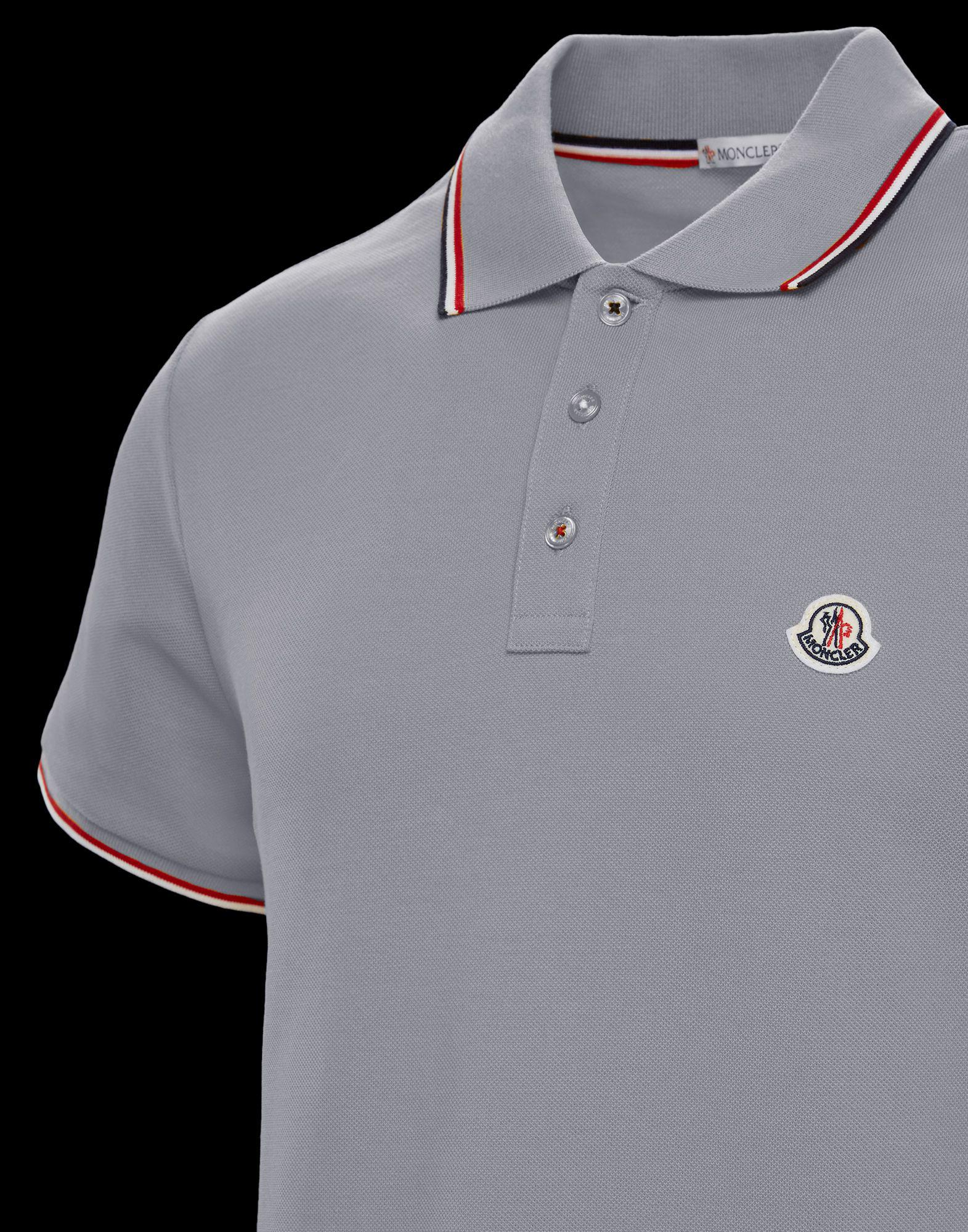 66b95d68b Lyst - Moncler Polo Shirt in Gray for Men