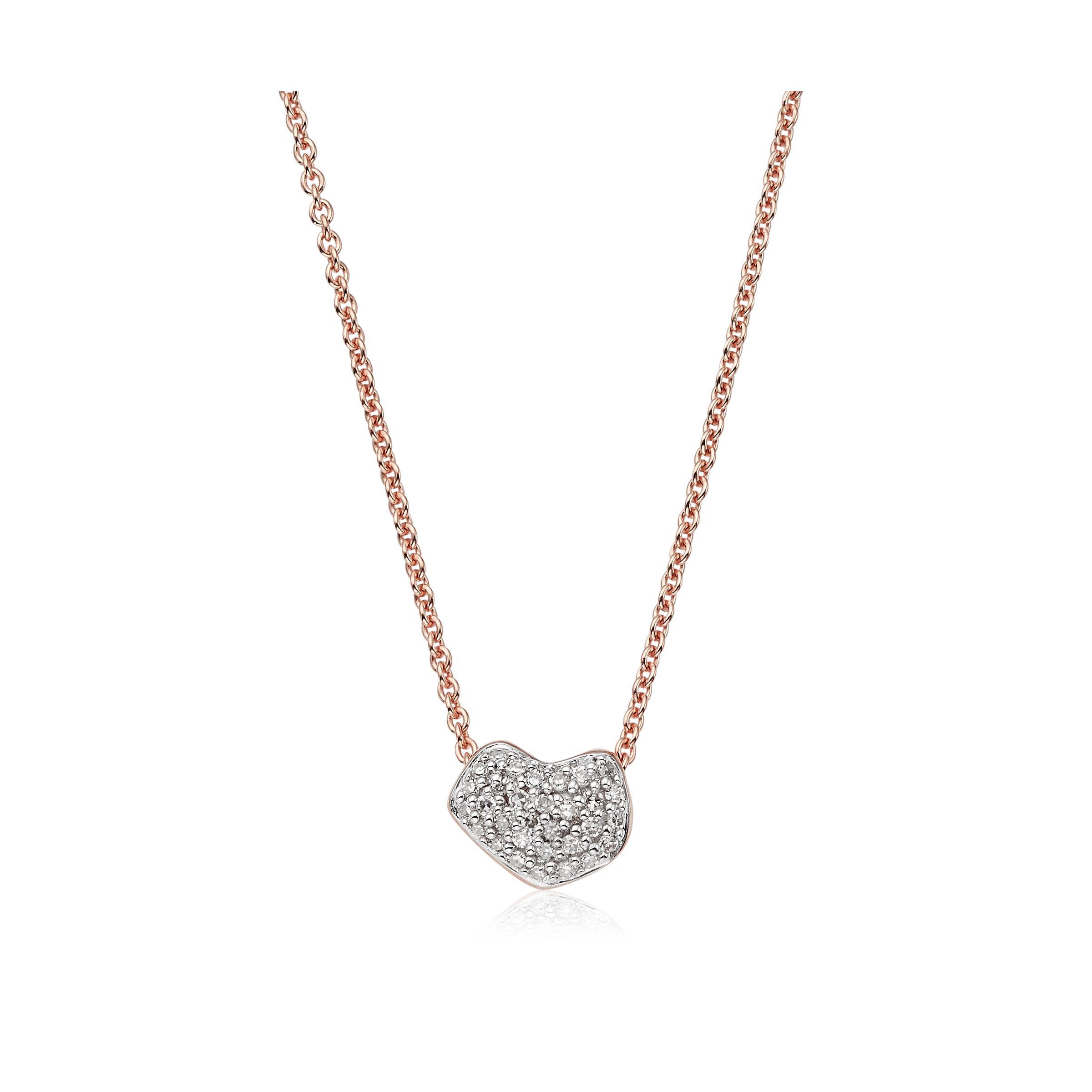 Rose Gold Alphabet Heart Pendant Diamond Monica Vinader WjCQQezLD