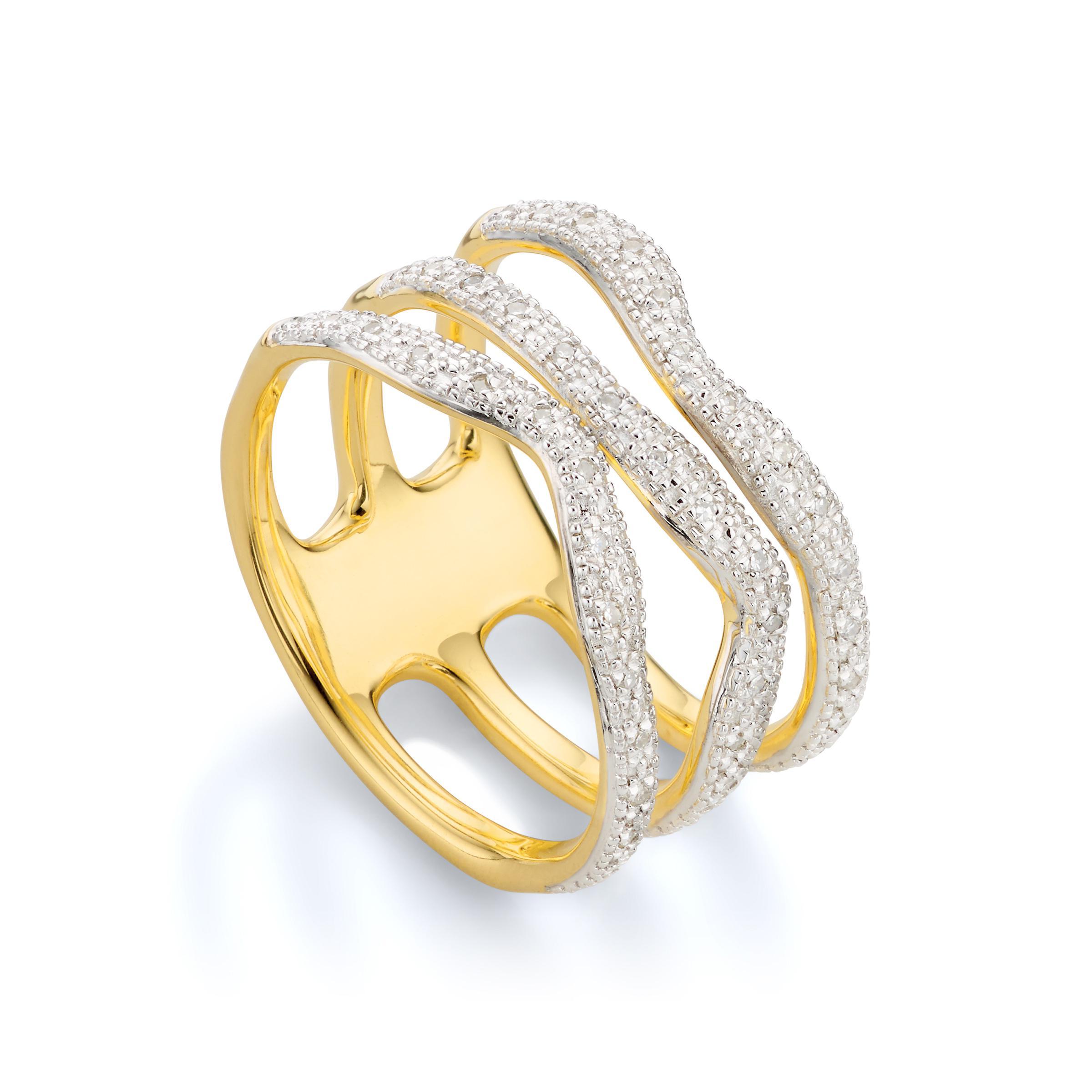 Gold Riva Wave Cross Ring Diamond Monica Vinader 3MYZe