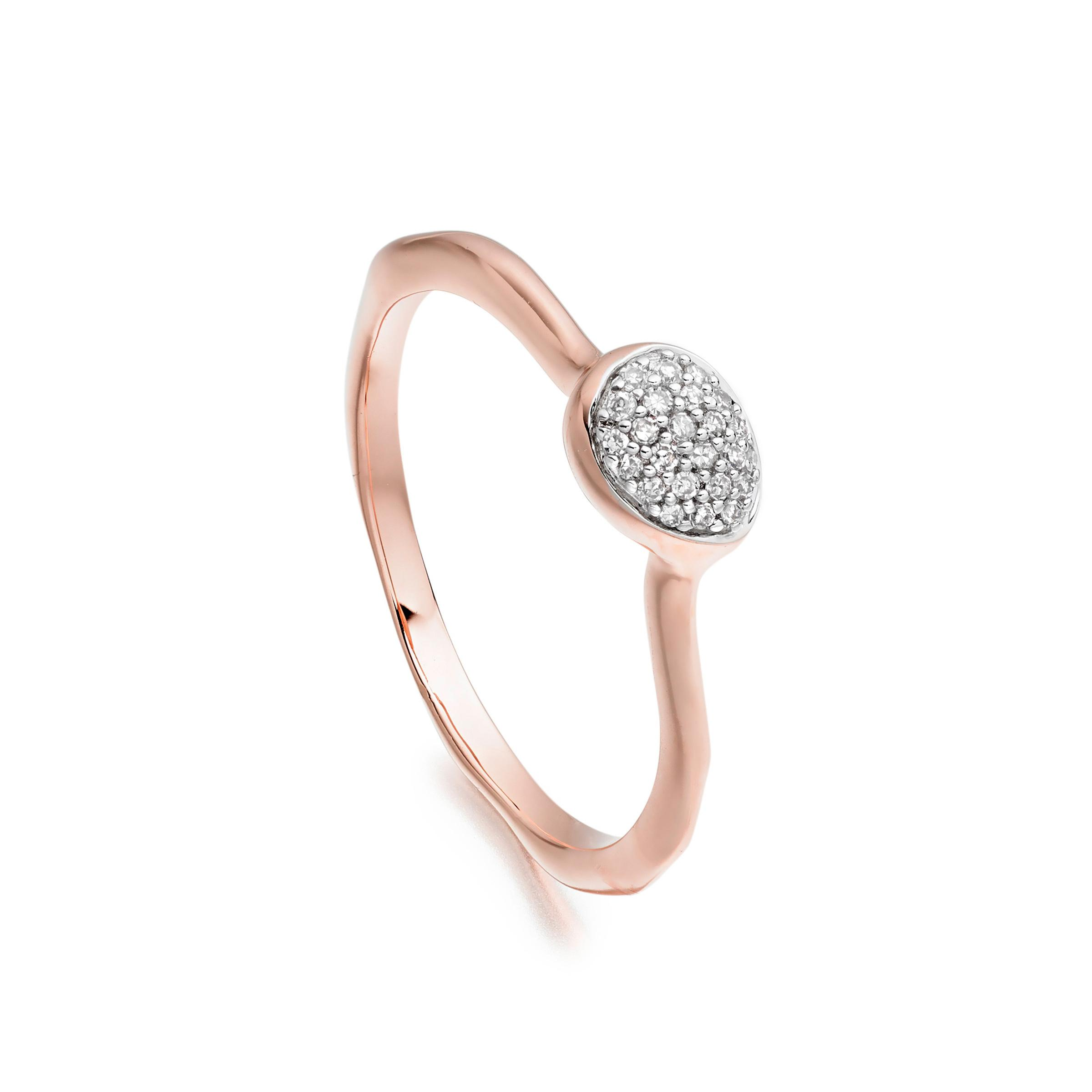 Siren Diamond Small Stacking Ring, Rose Gold Vermeil on Silver Monica Vinader