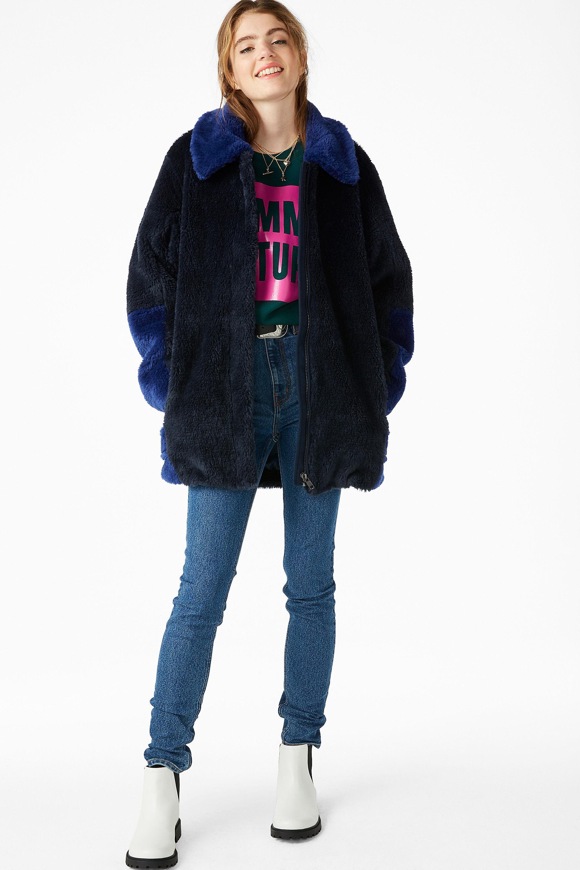 d6f6bd97b0c9 Monki Faux Fur Jacket in Blue - Lyst