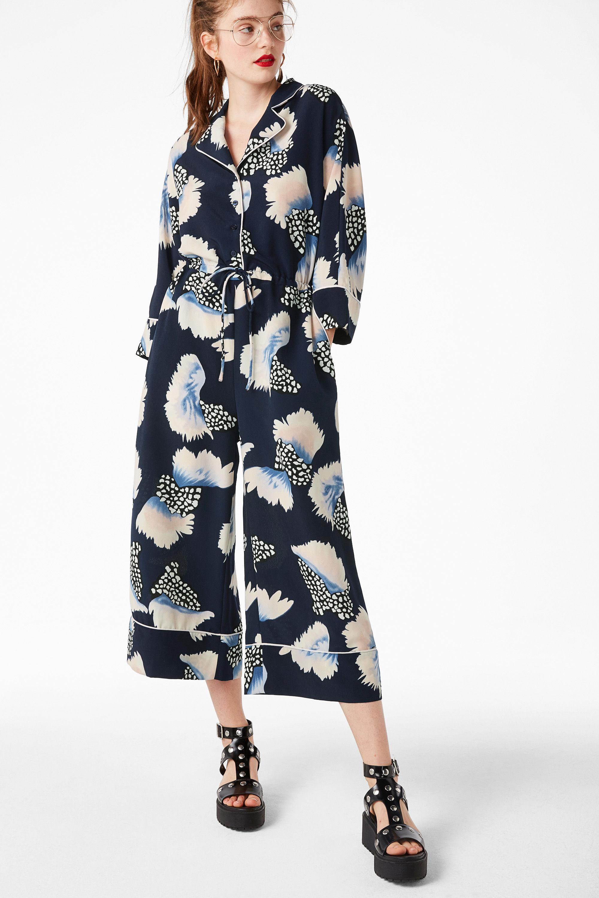 27aa709899 Monki Feather Print Cropped Wide Leg Jumpsuit in Blue - Lyst