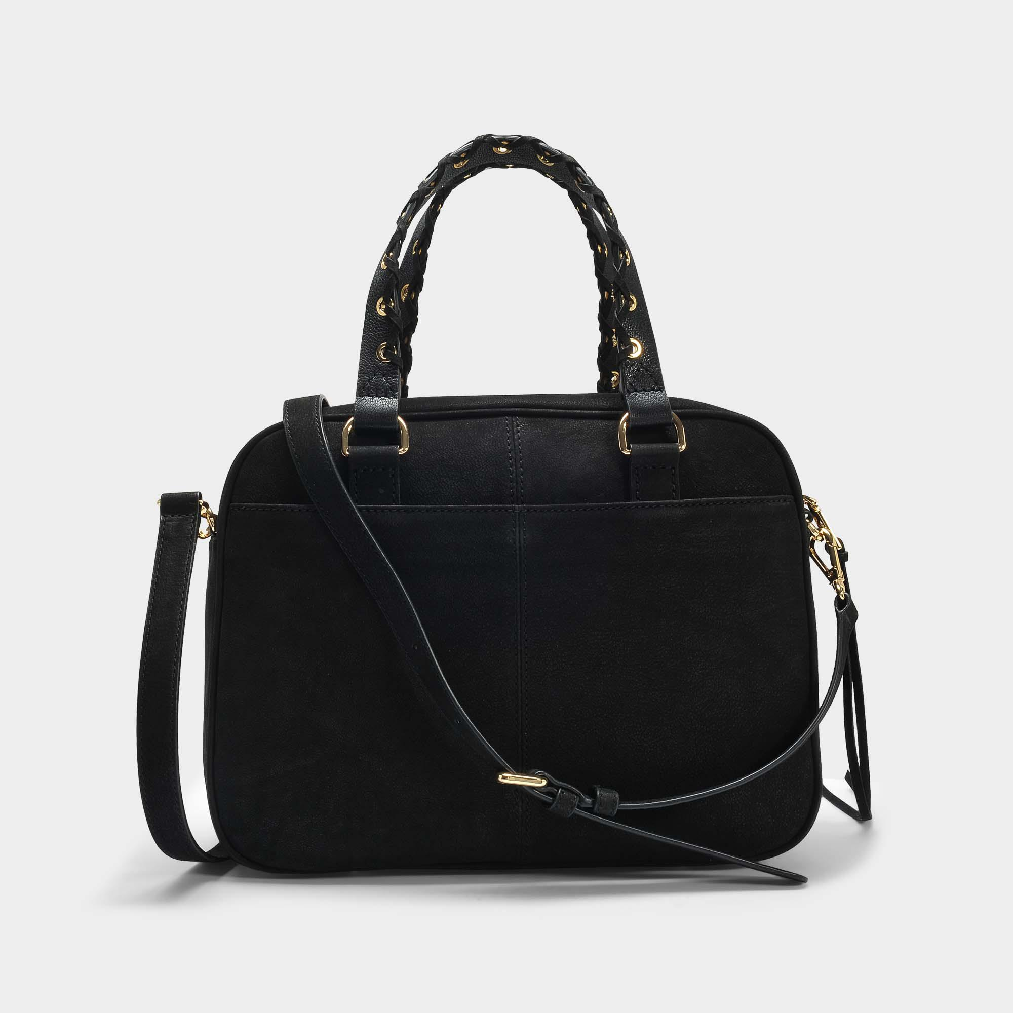 Shanna Satchel Bag in Black Cow Leather DKNY pjmJ0Y