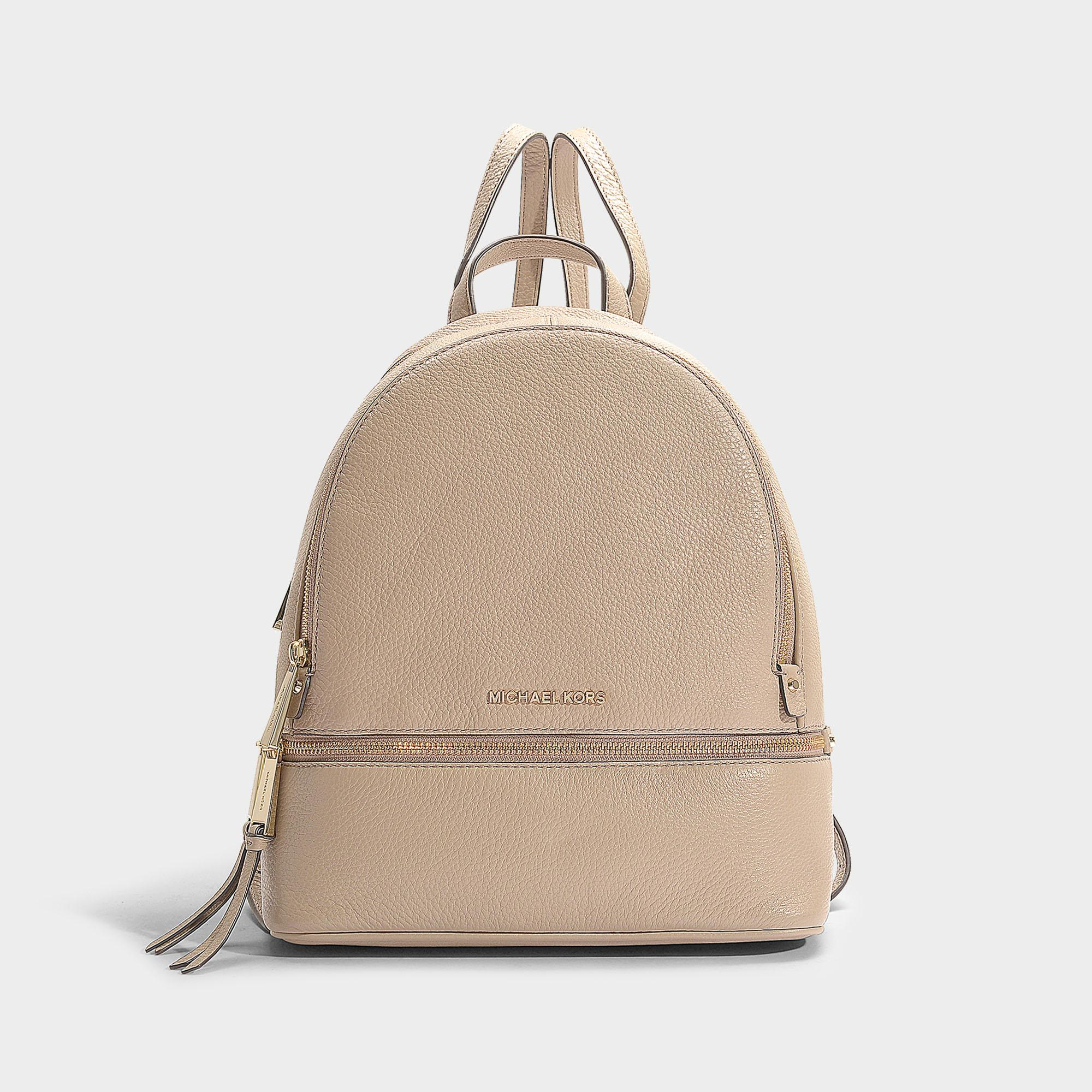 a6d4a010f935 MICHAEL Michael Kors Rhea Zip Medium Backpack In Beige Calfskin in ...