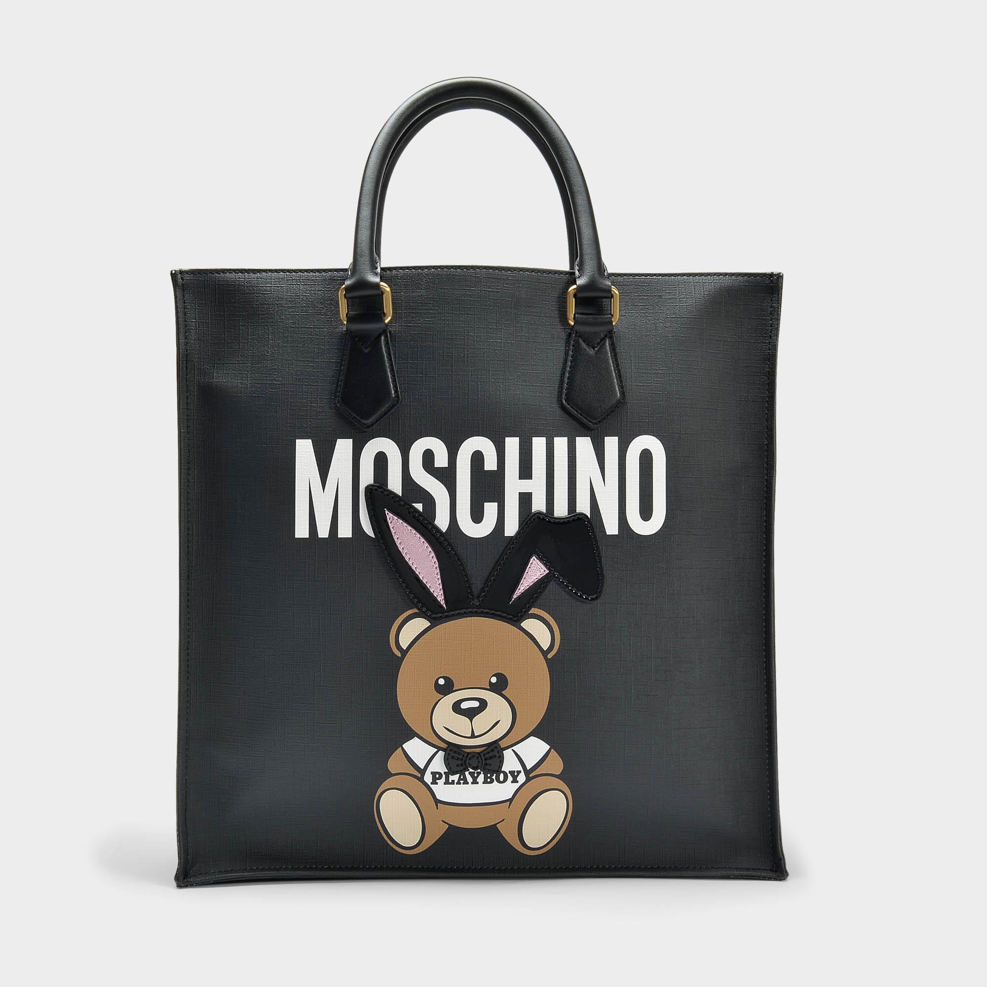 Moschino Peluche Sac Playboy Client En Noir Saffiano 8qmnbJ62
