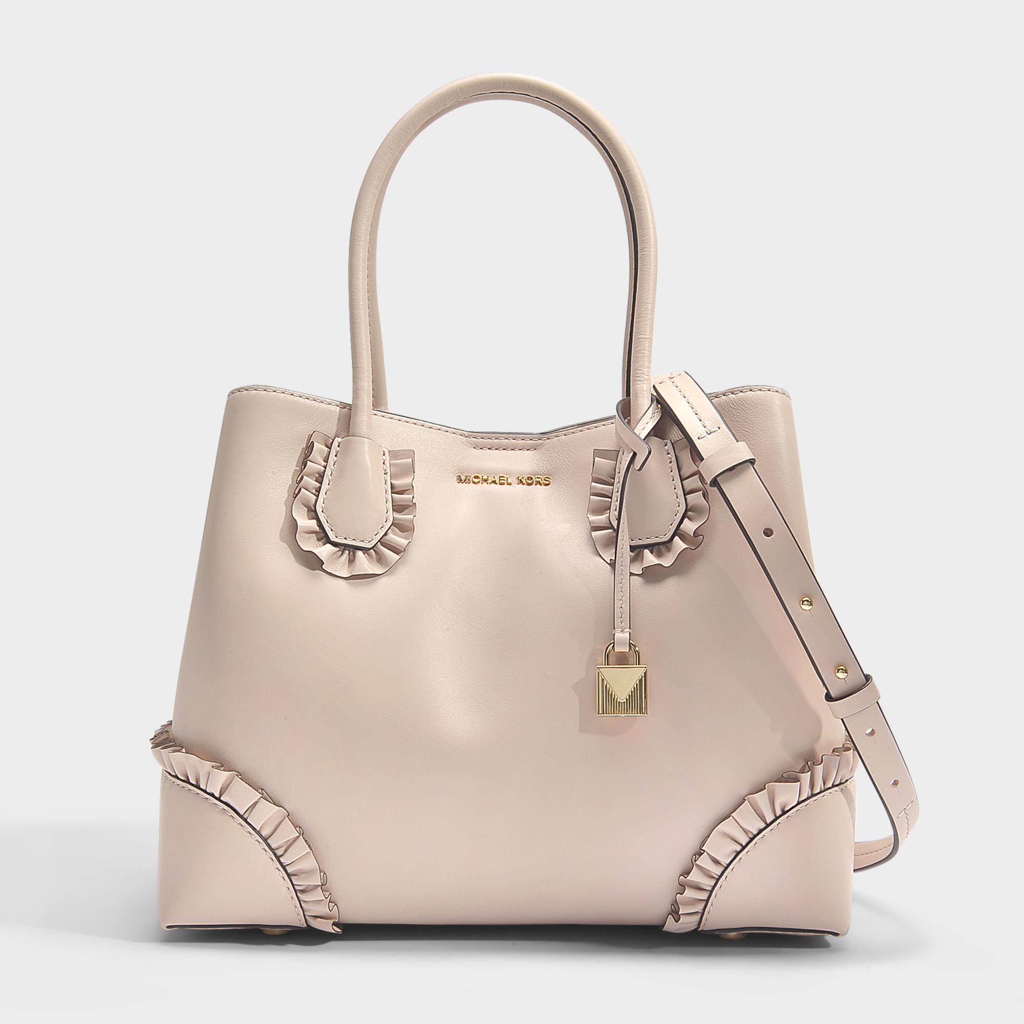 Mercer Gallery Center Zip Medium Tote Bag with Ruffles in Soft Pink Polished Leather Michael Michael Kors RX1iDvJ7r