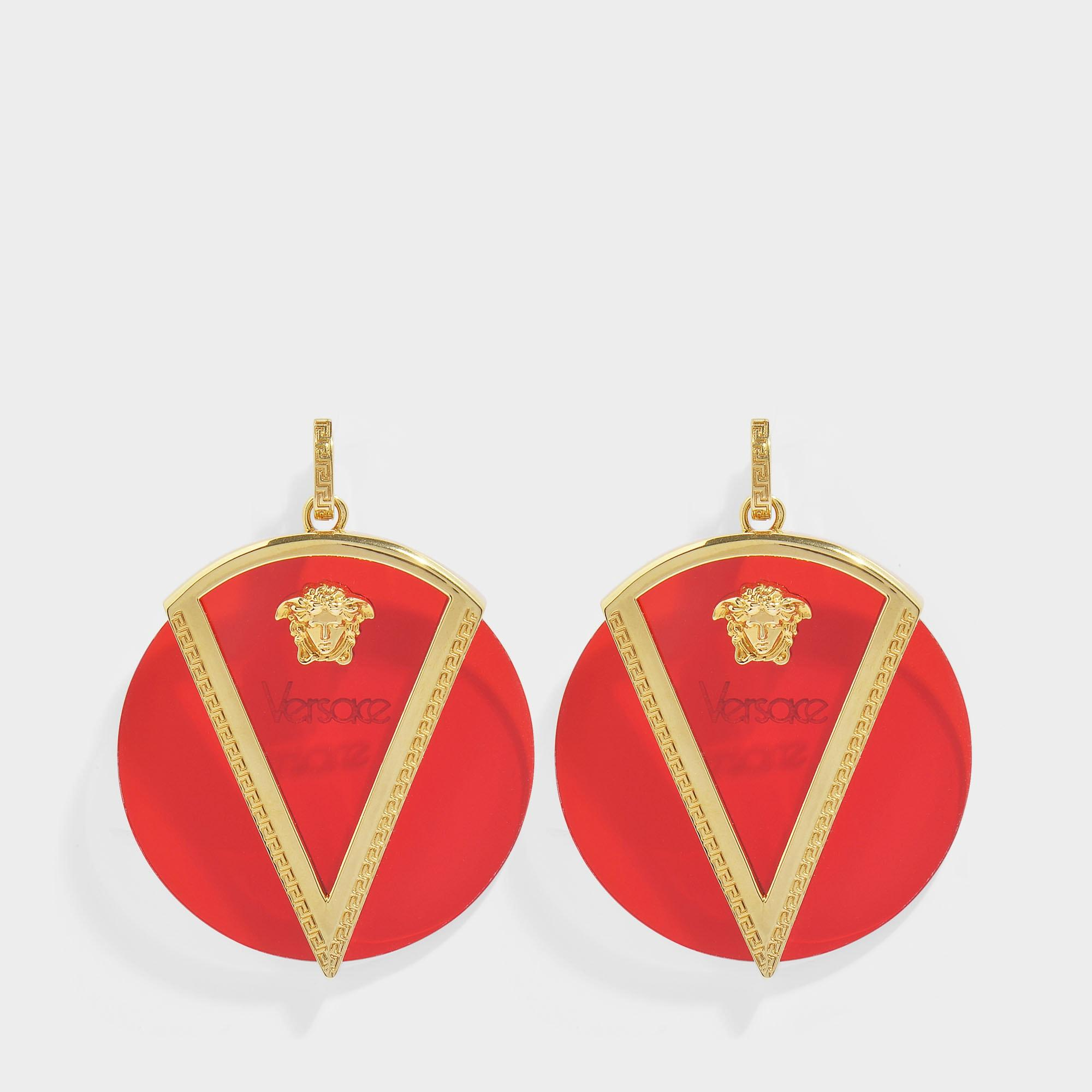 8d6bd7099 Versace Medusa Earrings In Red Resin And Gold Metal in Red - Lyst