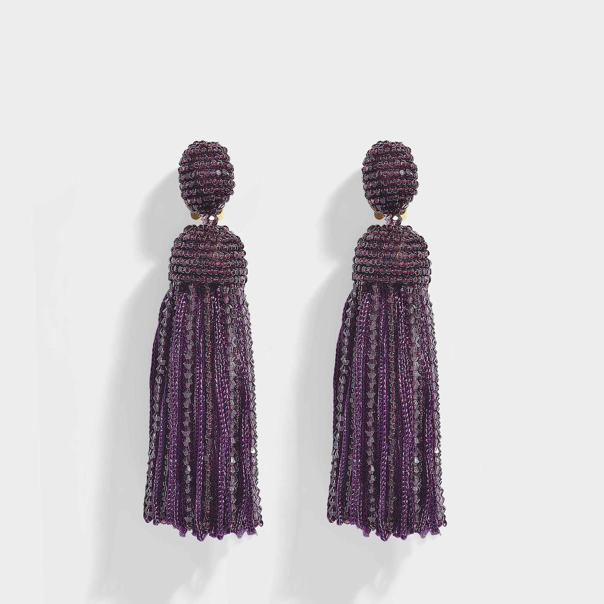 832d6f049 Oscar de la Renta Short Beaded Silk Tassel Clip Earrings in Purple ...