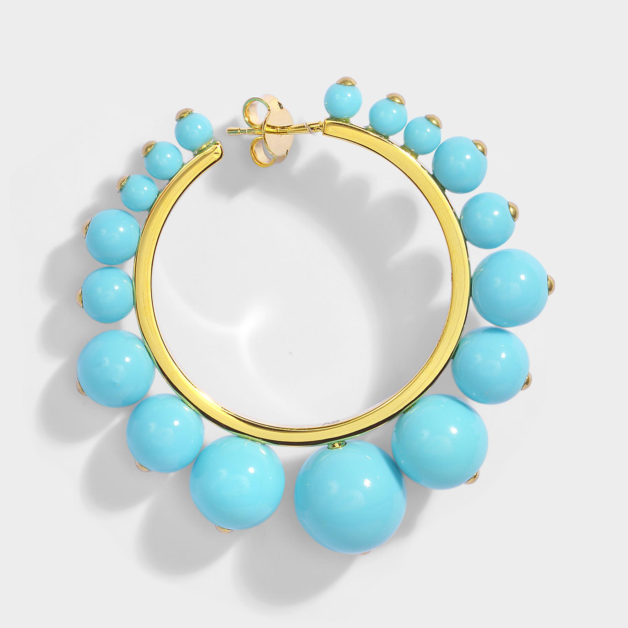 Aurélie Bidermann Ana Medium Earrings in Turquoise Color Pearls and 18K Gold-Plated Brass ossOcyOg