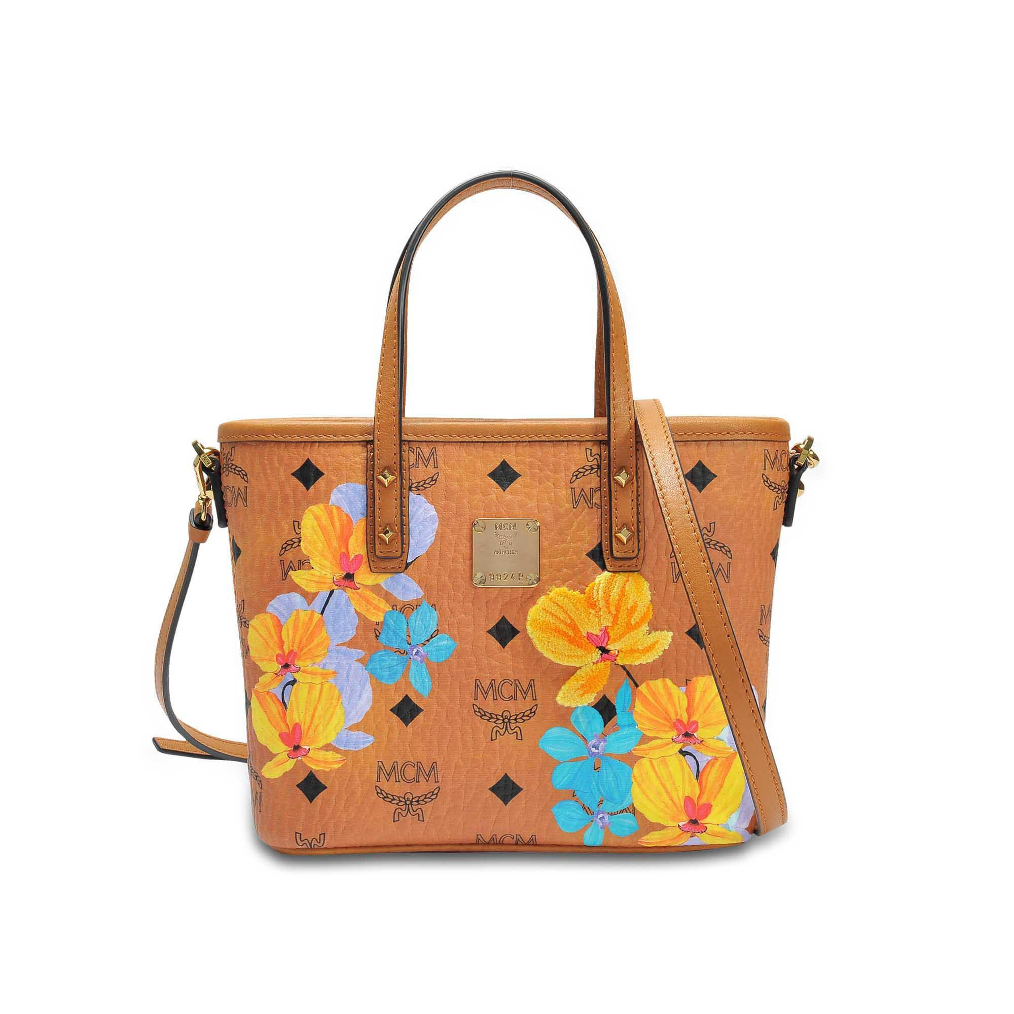 Flower Mini Crossbody Bag in Cognac Coated Cotton MCM 048WQDM6i