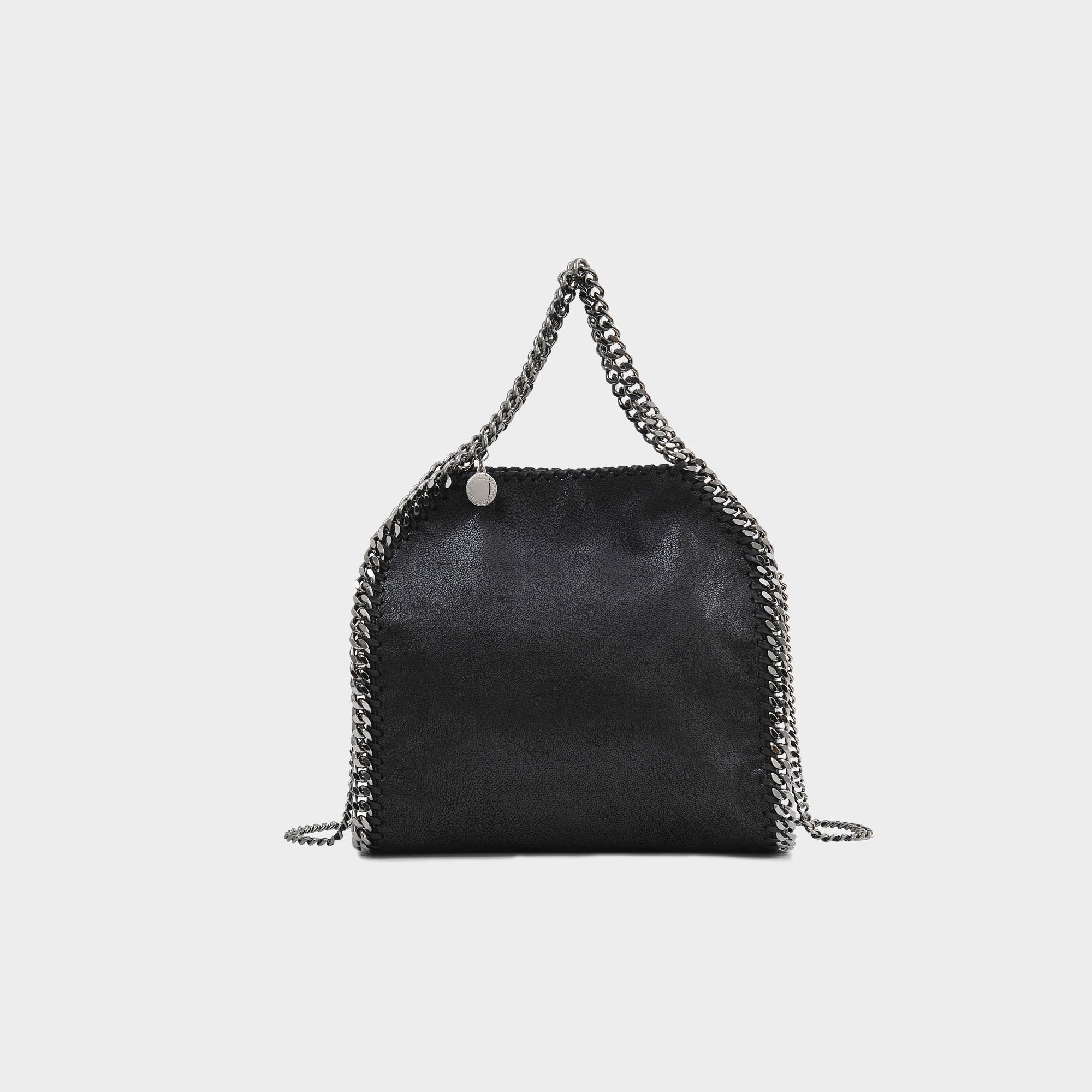 cd81704b2bd0 Stella Mccartney Minibella Tote Silver Chain Bag In Black Eco ...