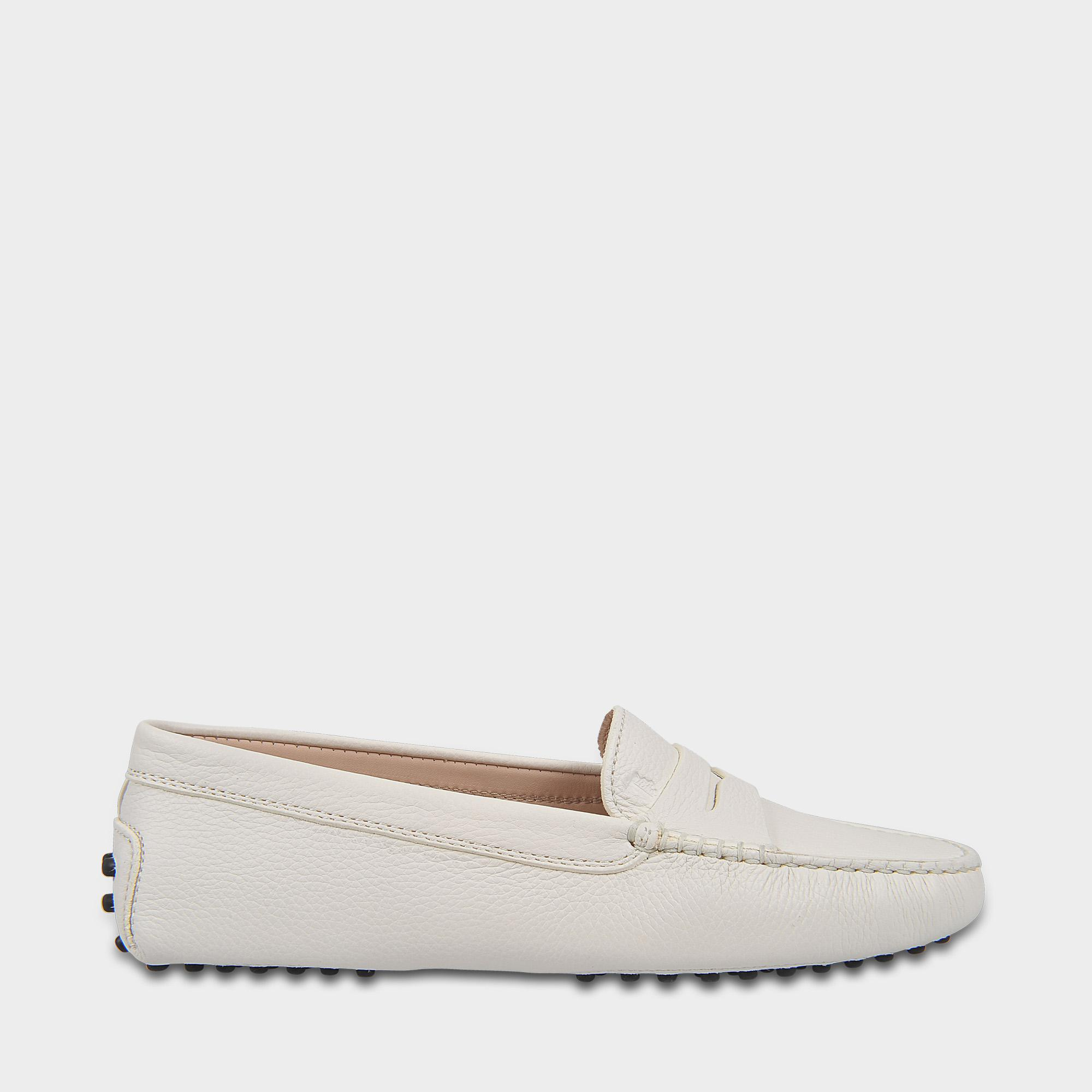 Fringed Moccasins in White Grained Calfskin Tod's uUrf1NzVR