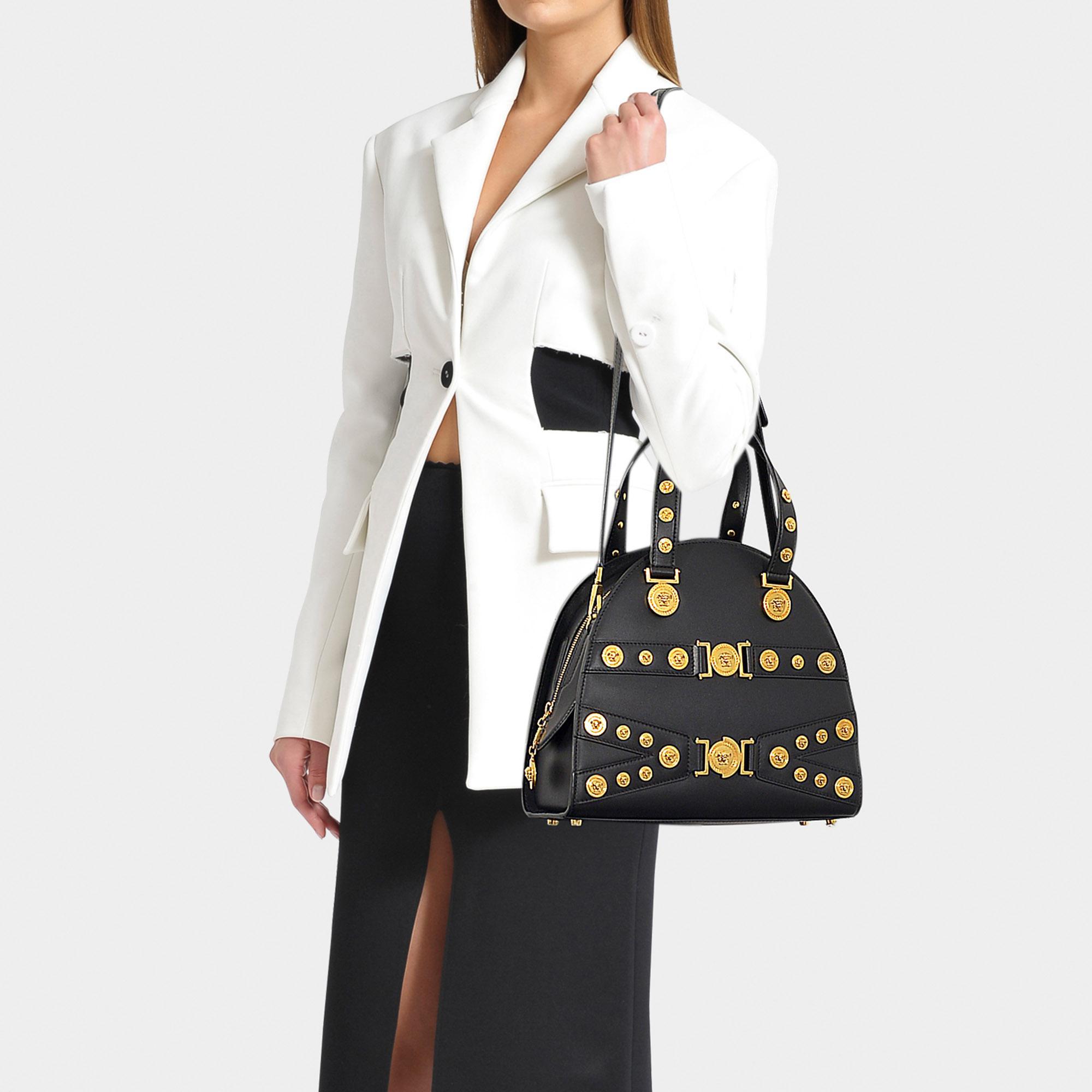 6d99e6faf613 Versace - Tribute Bag In Black Calfskin - Lyst. View fullscreen