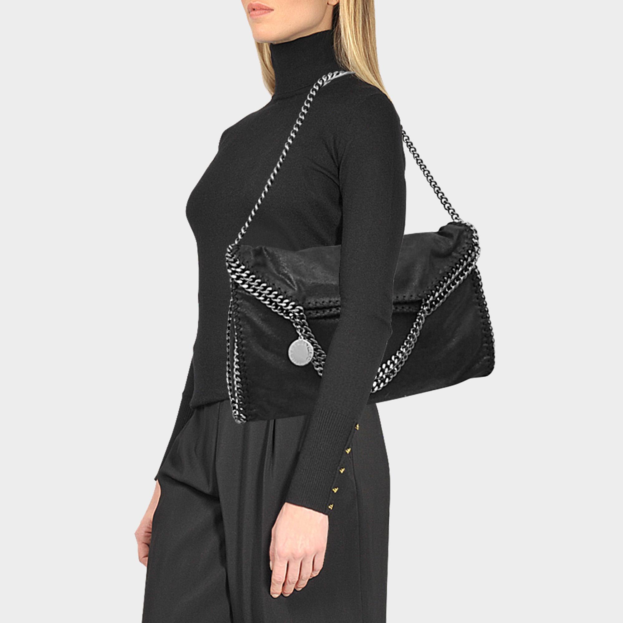 Stella McCartney - Shaggy Deer Falabella Three Chains Bag In Black Eco  Leather - Lyst. View fullscreen 62fca299253ae