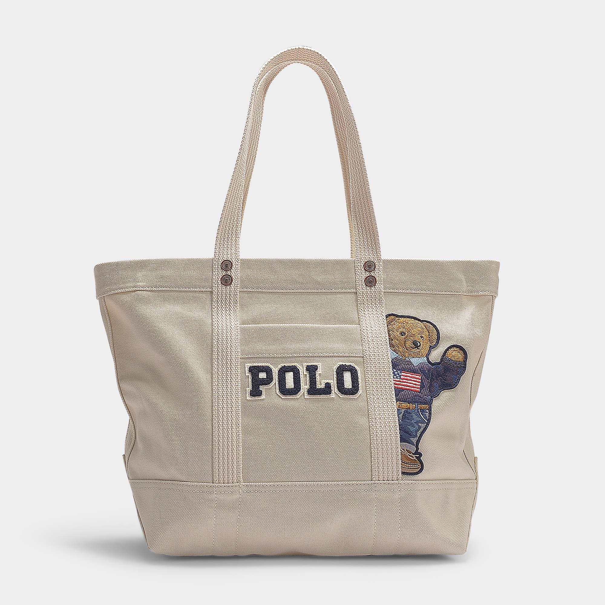 8b7284b48 Petit Cabas PP Tote Teddy Bear en Toile Crème Polo Ralph Lauren en ...