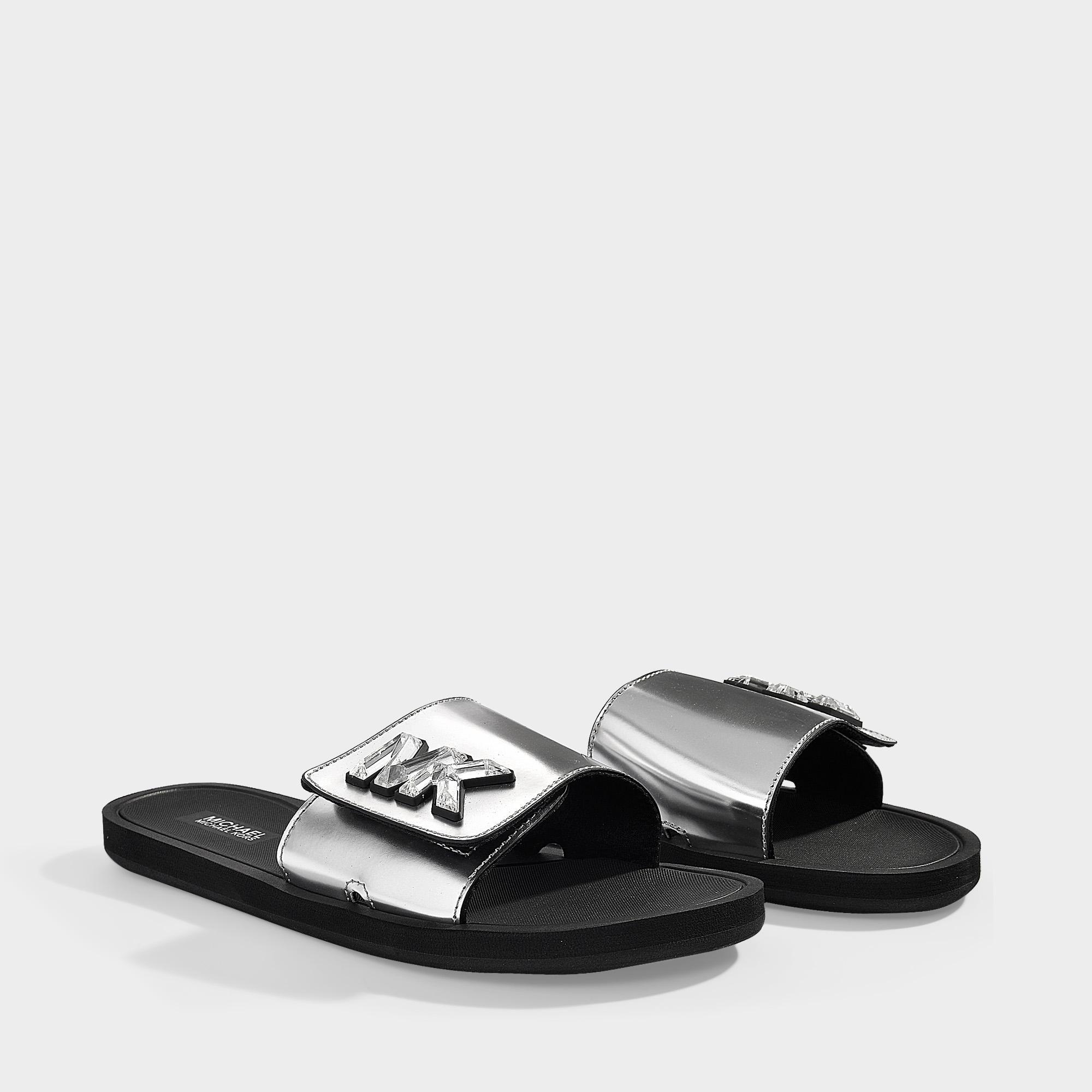 3149039021f6 MICHAEL Michael Kors - Gray Mk Slides In Silver Mirror Metallic Material  And Crystals - Lyst. View fullscreen