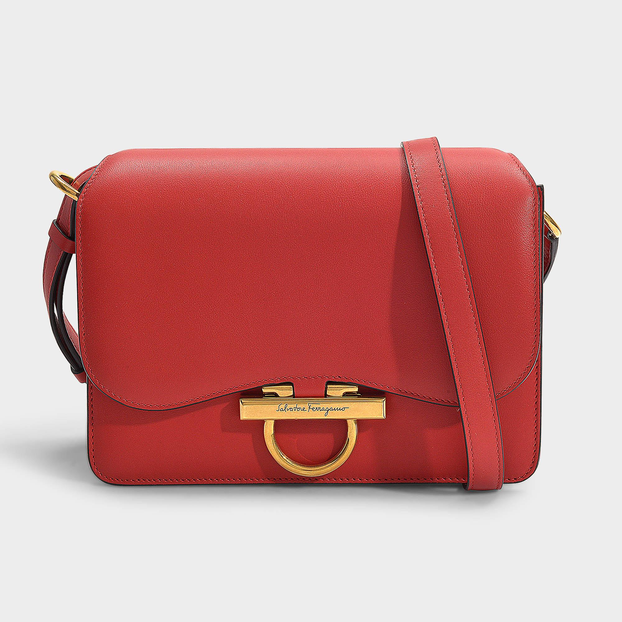 8839df2718 Lyst - Ferragamo Joanne Flap Bag In Red Calfskin in Red - Save 4%