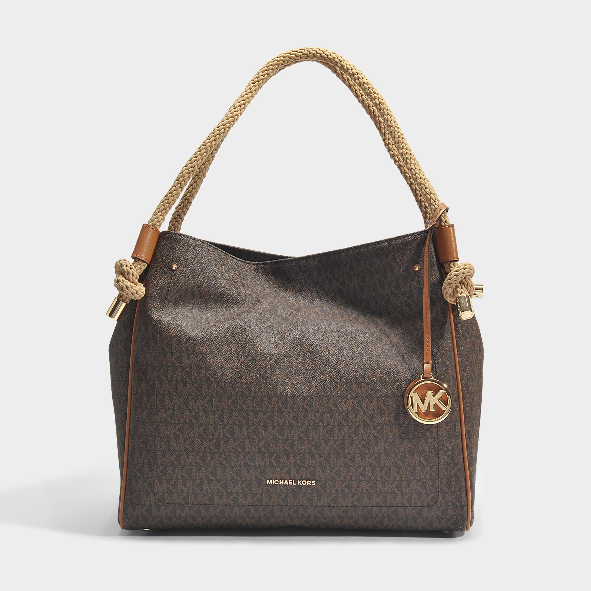 ccbf85851bdb MICHAEL Michael Kors Isla Large Grab Bag In Brown And Acorn Leather ...