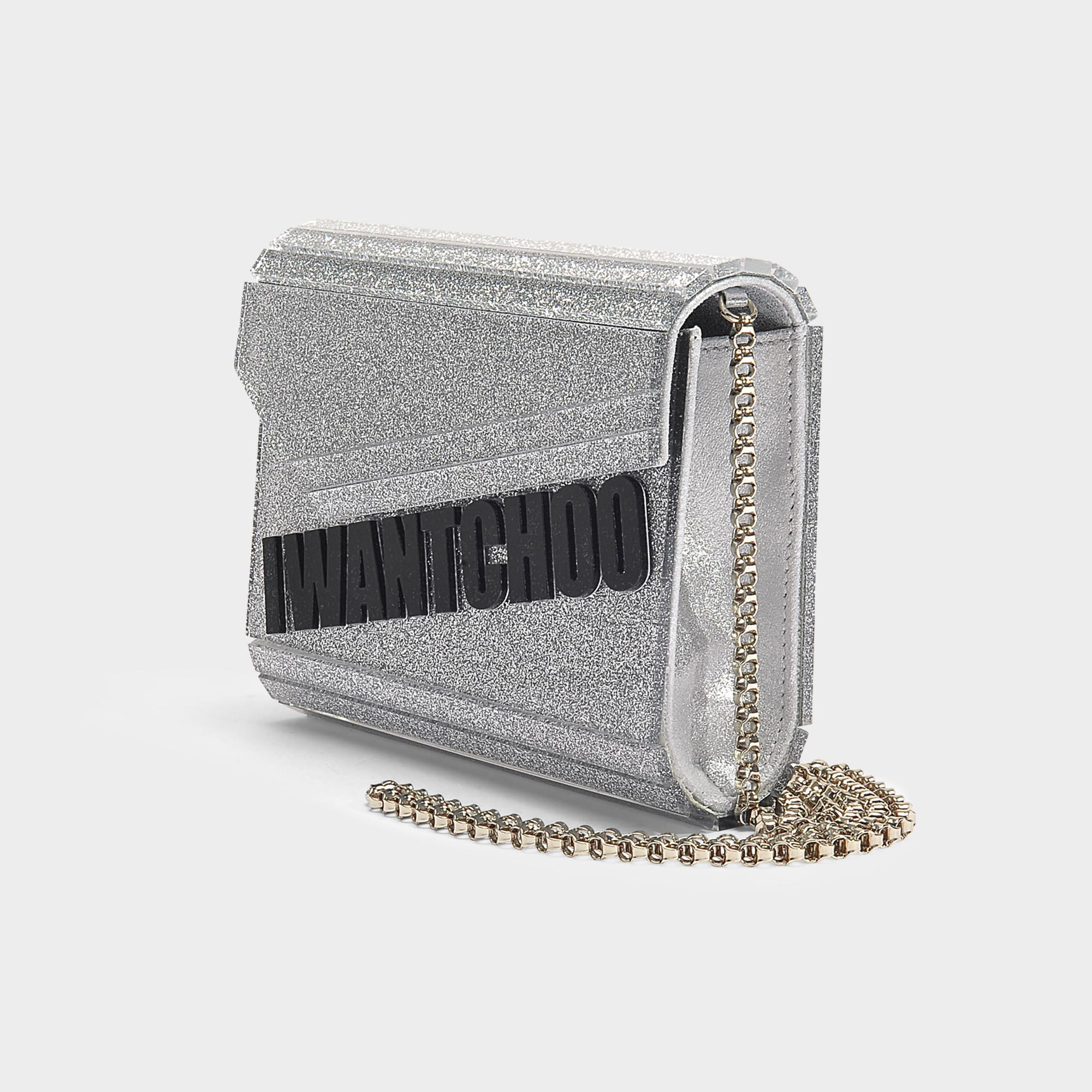ff0a216140ec9 Lyst - Jimmy Choo  i Want Choo  Glitter Candy Clutch In Silver ...