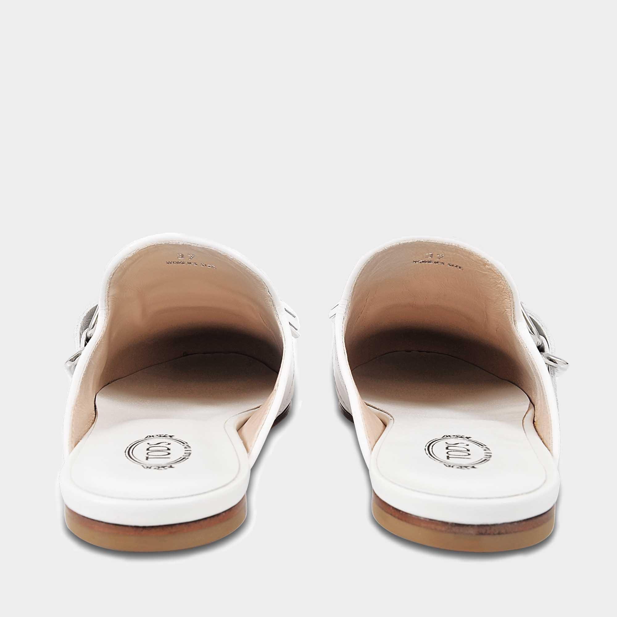 Chaussures De Mule Frangées En Cuir De Veau Blanc Tod 614ESy74B
