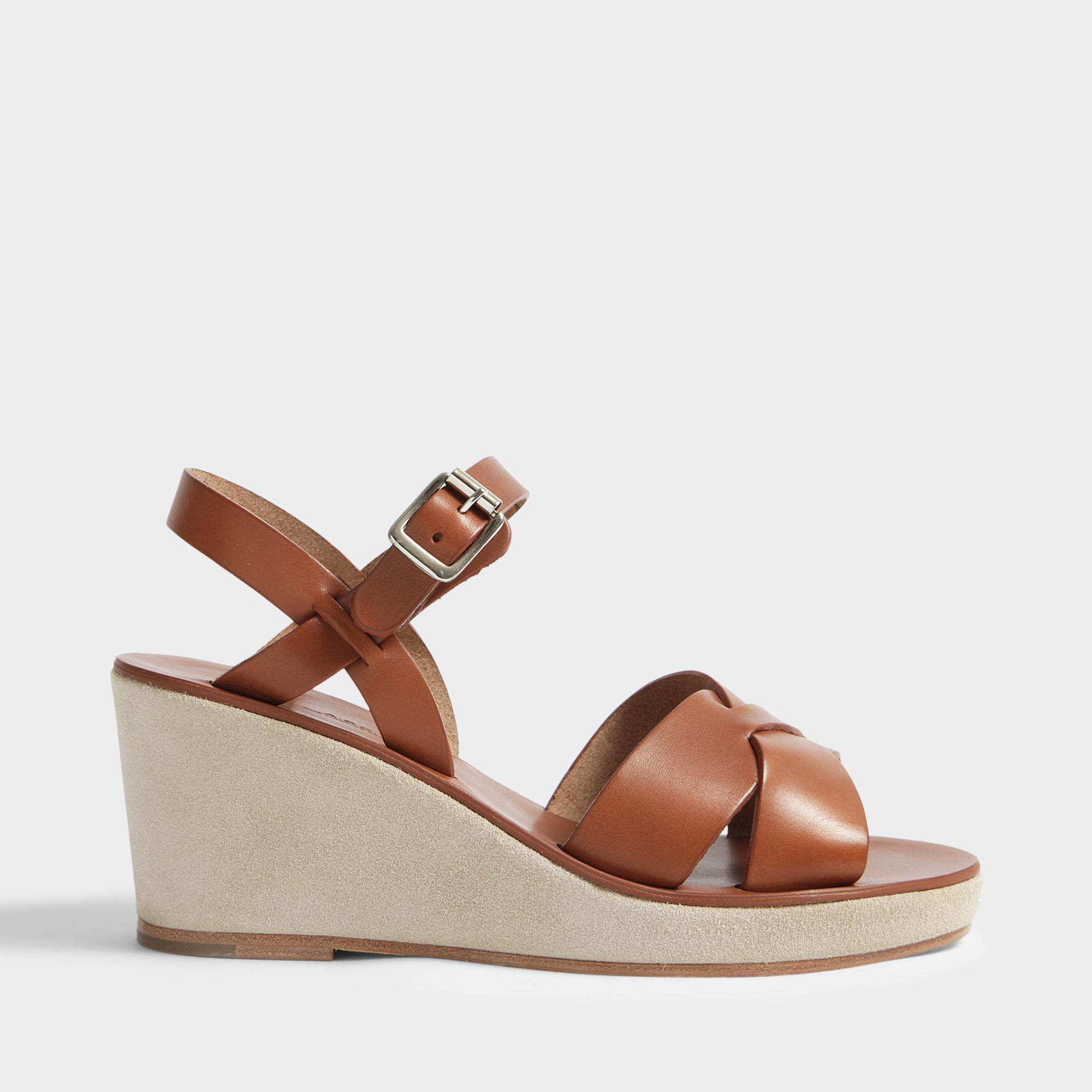 72b0a5e5820bca Lyst - A.P.C. Judith Sandals In Noisette Calfskin in Brown - Save 47%
