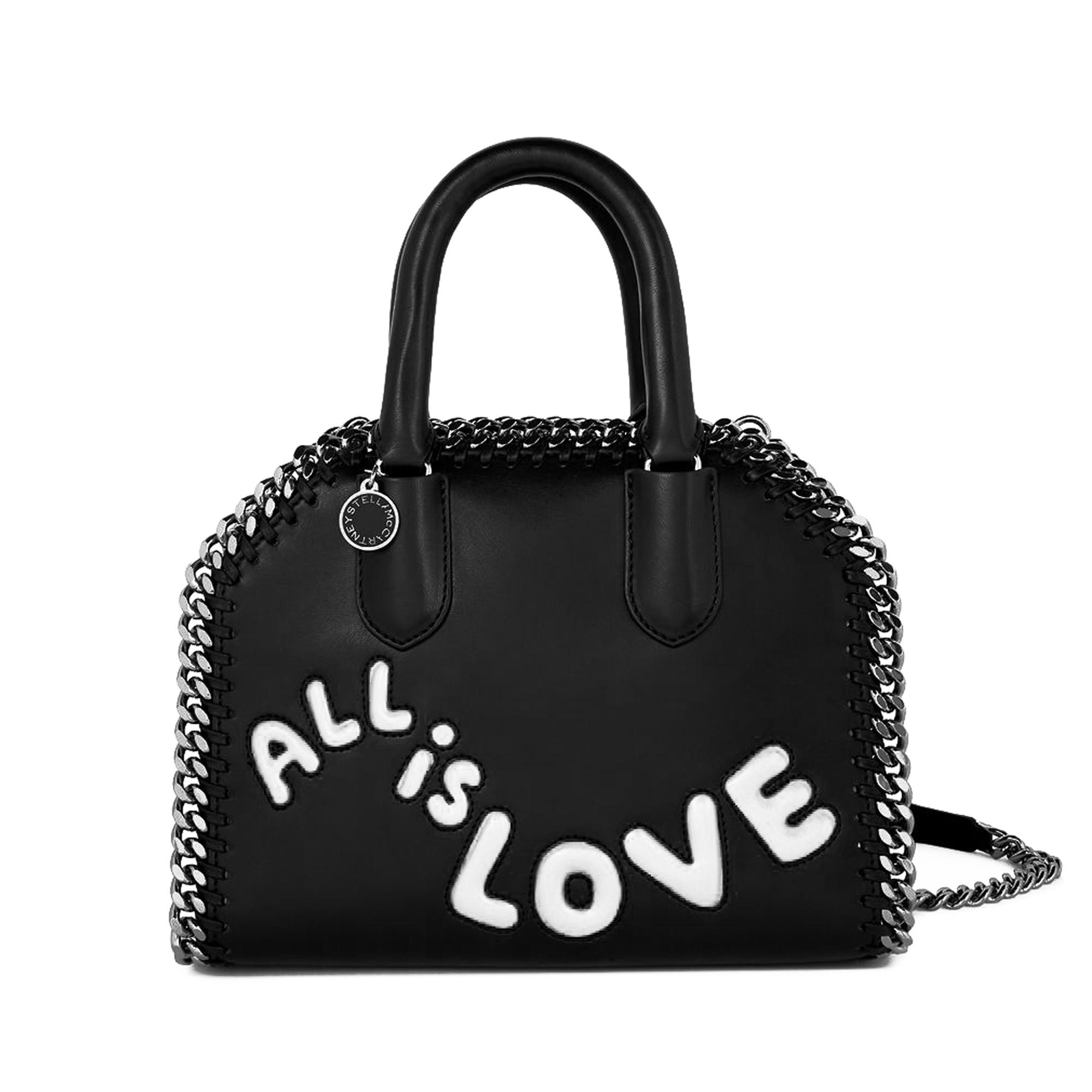 All Is Love Falabella Box Tiny Tote Bag in Black and Ivory Polyurethane Stella McCartney bw53cV