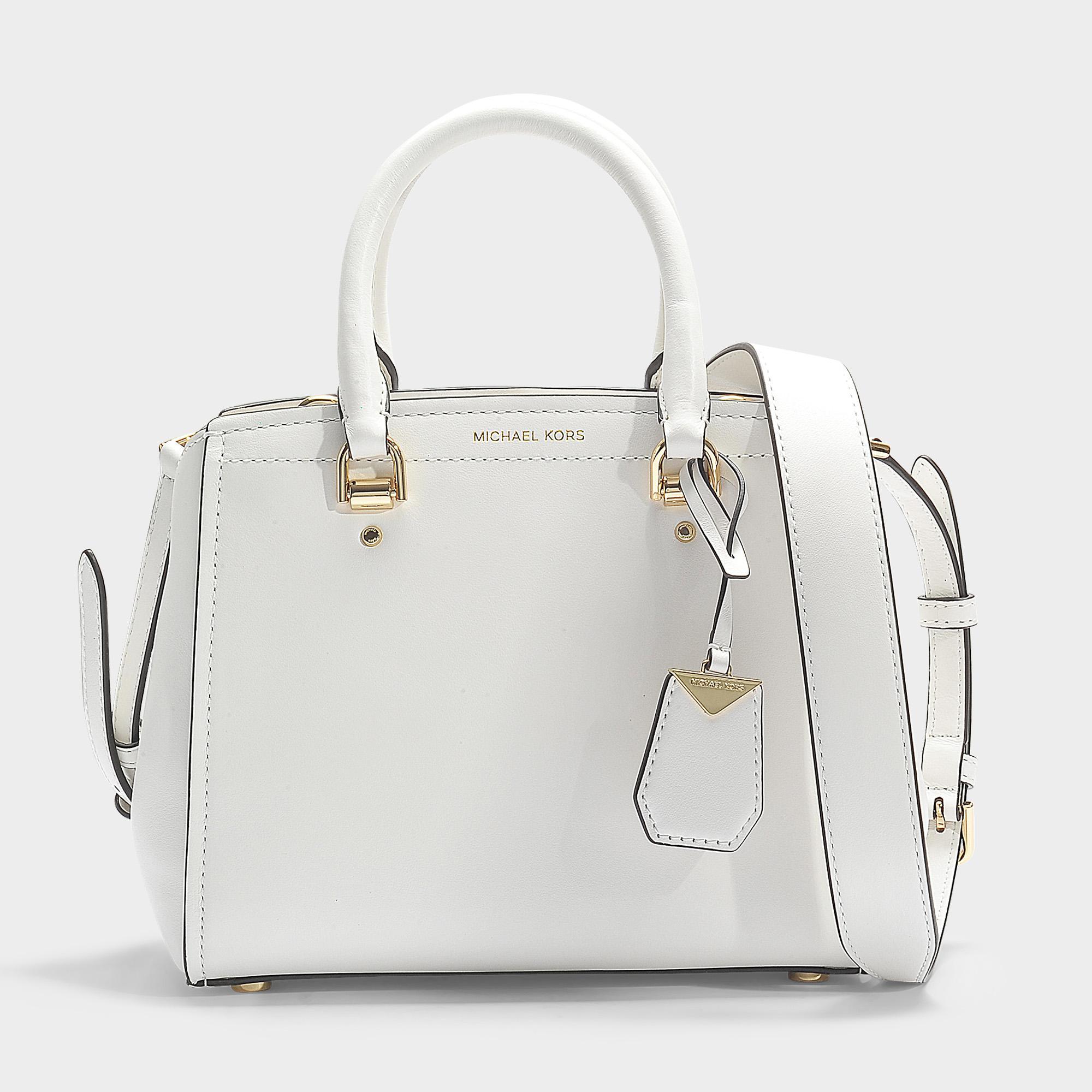0d3c4b1cced3 MICHAEL Michael Kors Benning Medium Messenger Bag In White Calfskin ...