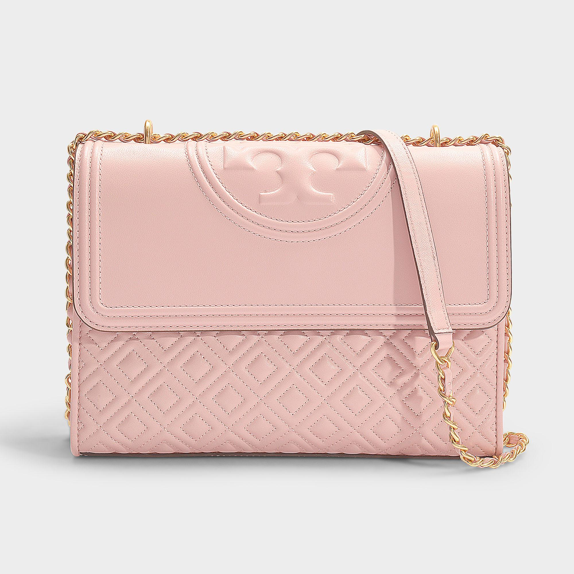 e6f9818c564 Lyst - Tory Burch Fleming Convertible Shoulder Bag In Shell Pink ...