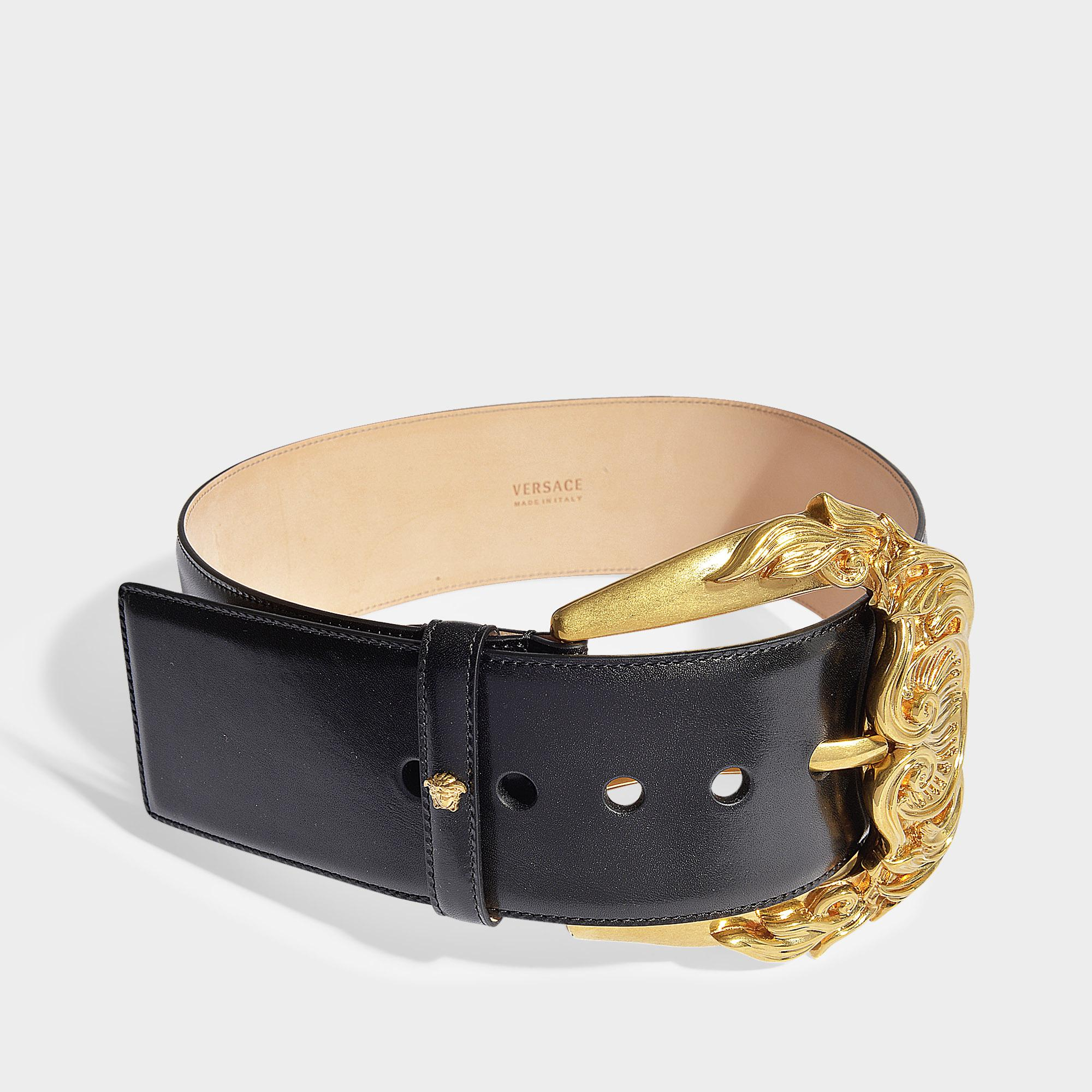 62652f25f Versace - Barocco Buckle Waist Belt In Black Calf Leather - Lyst. View  fullscreen