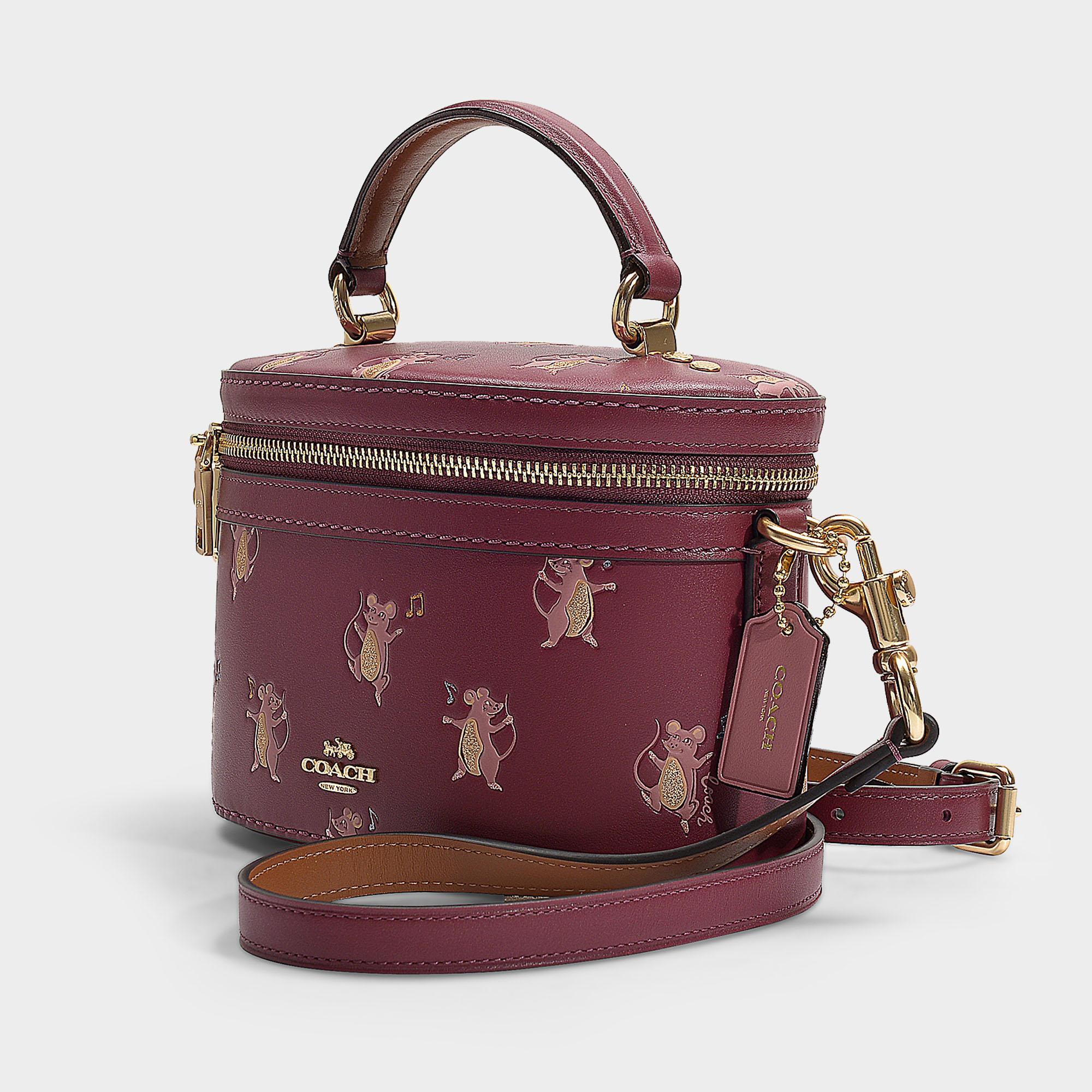 5287aa63e6b4 COACH Mouse Print Trail Crossbody In Burgundy Calfskin in Purple - Lyst
