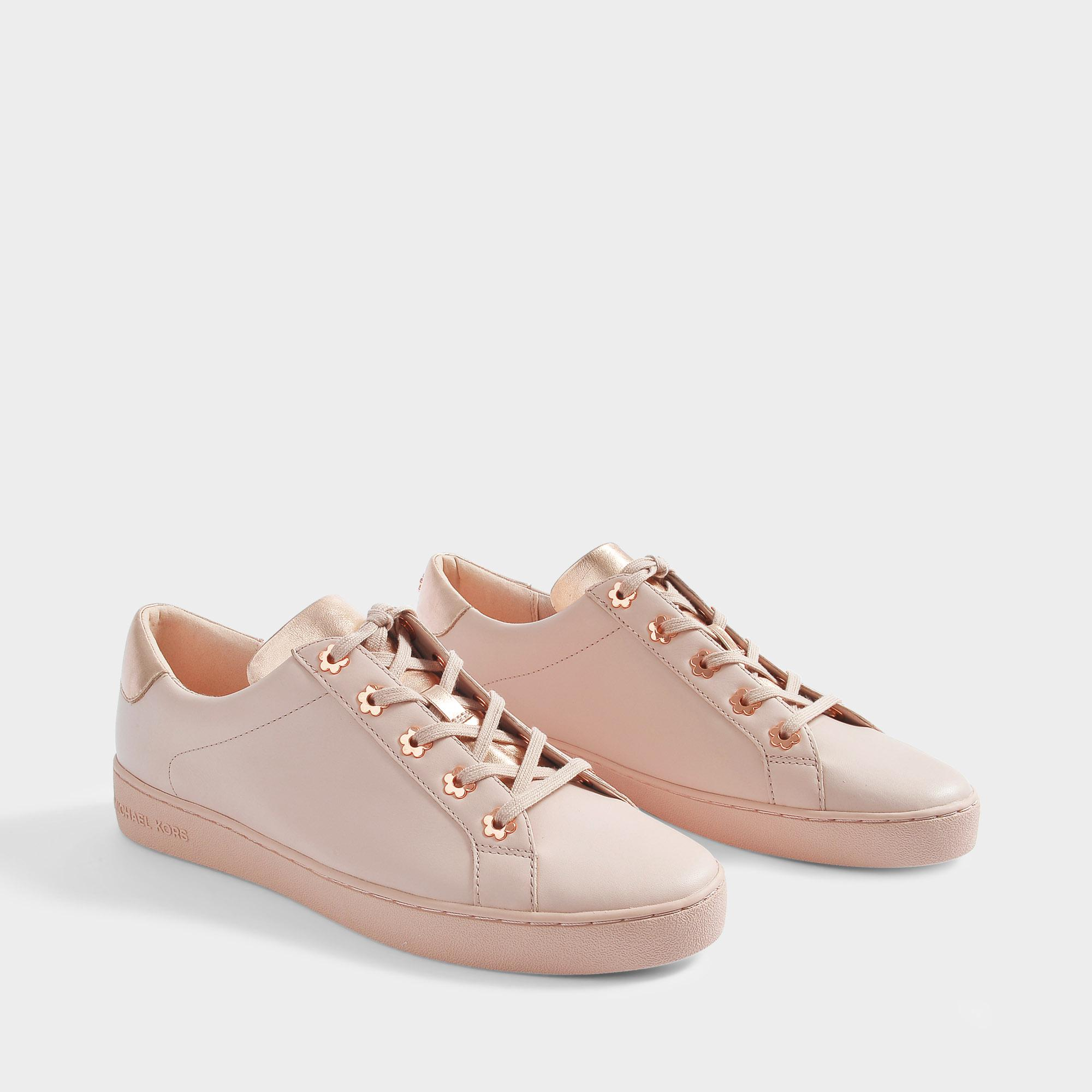 4bbbcf8d961 MICHAEL Michael Kors Irving Sneakers With Flower Detail In Soft Pink ...