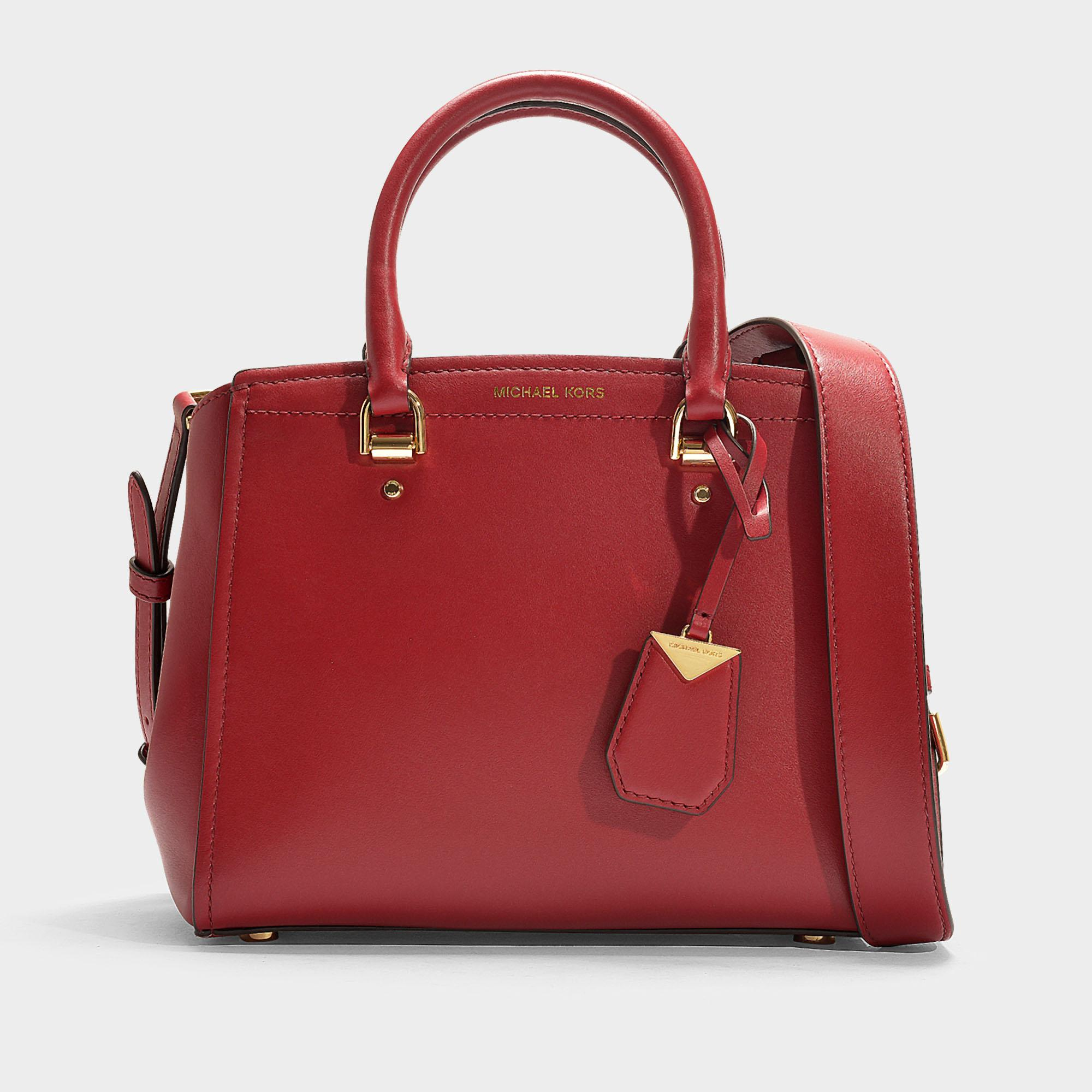 addb9ac6c451 MICHAEL Michael Kors Benning Medium Messenger Bag In Red Calfskin in ...