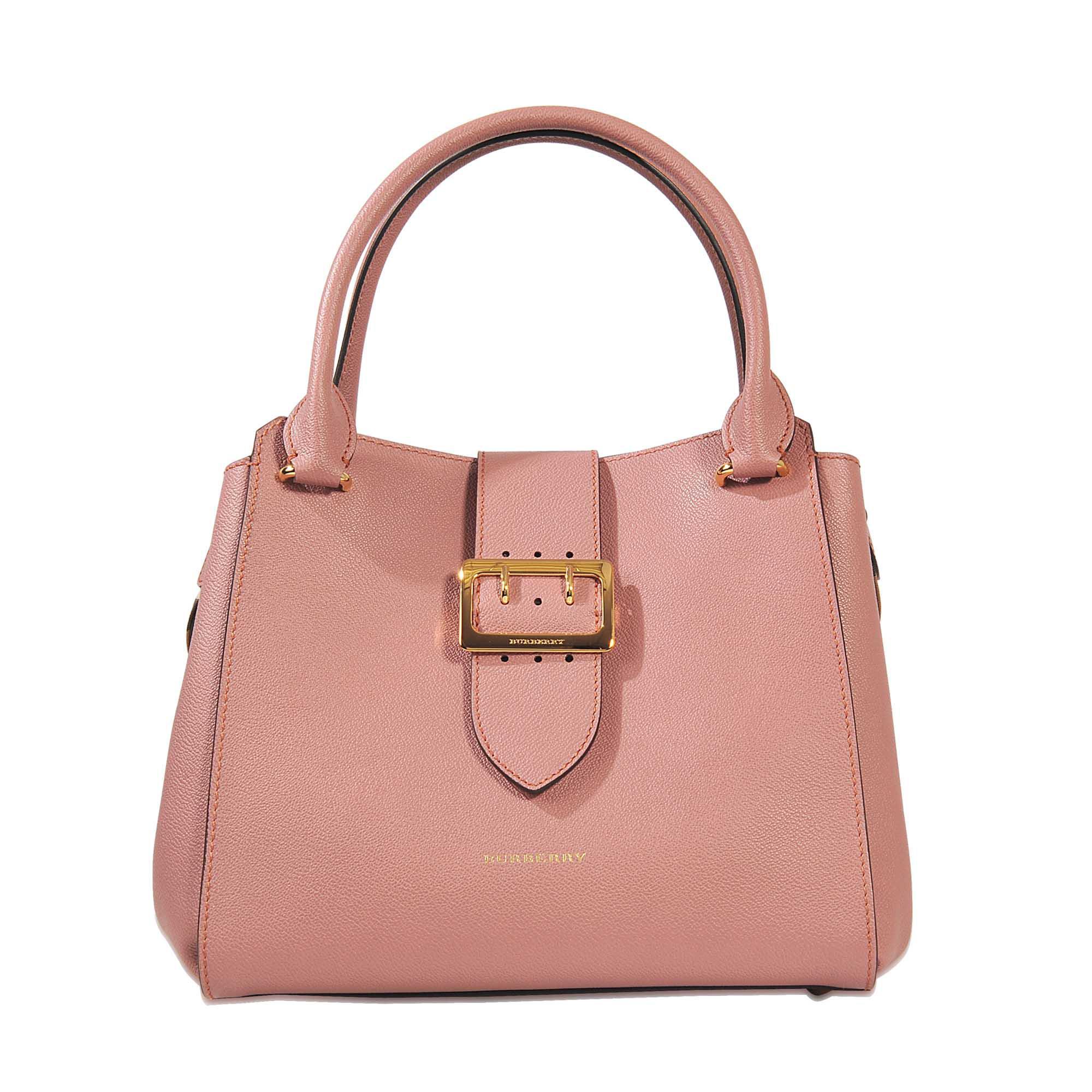 Medium Buckle Tote Bag in Dusty Pink Grained Calfskin Burberry UtUQHUMx