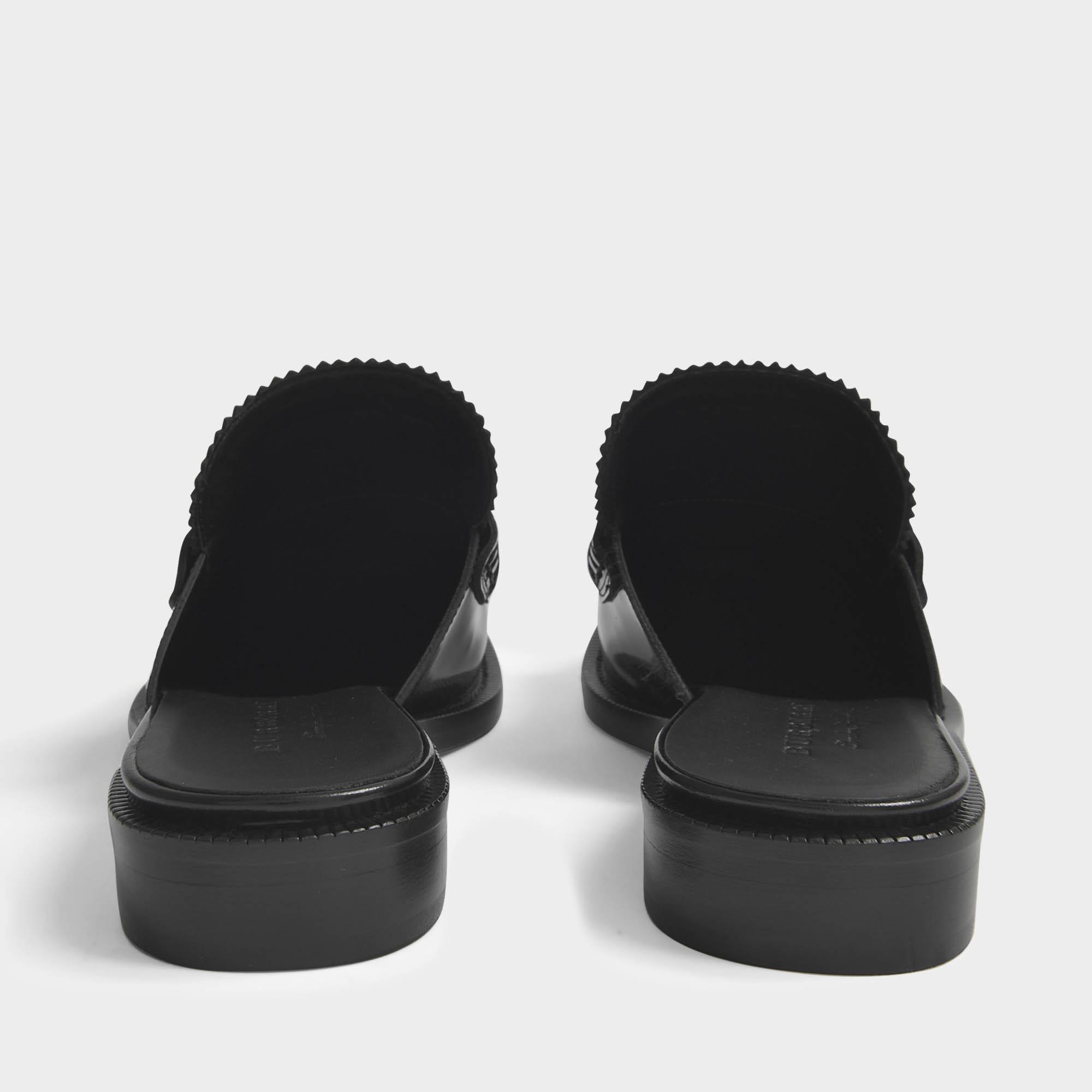Burberry Chaussures Mule Frangé Beckshill En Cuir Noir kZwxIKP3sY