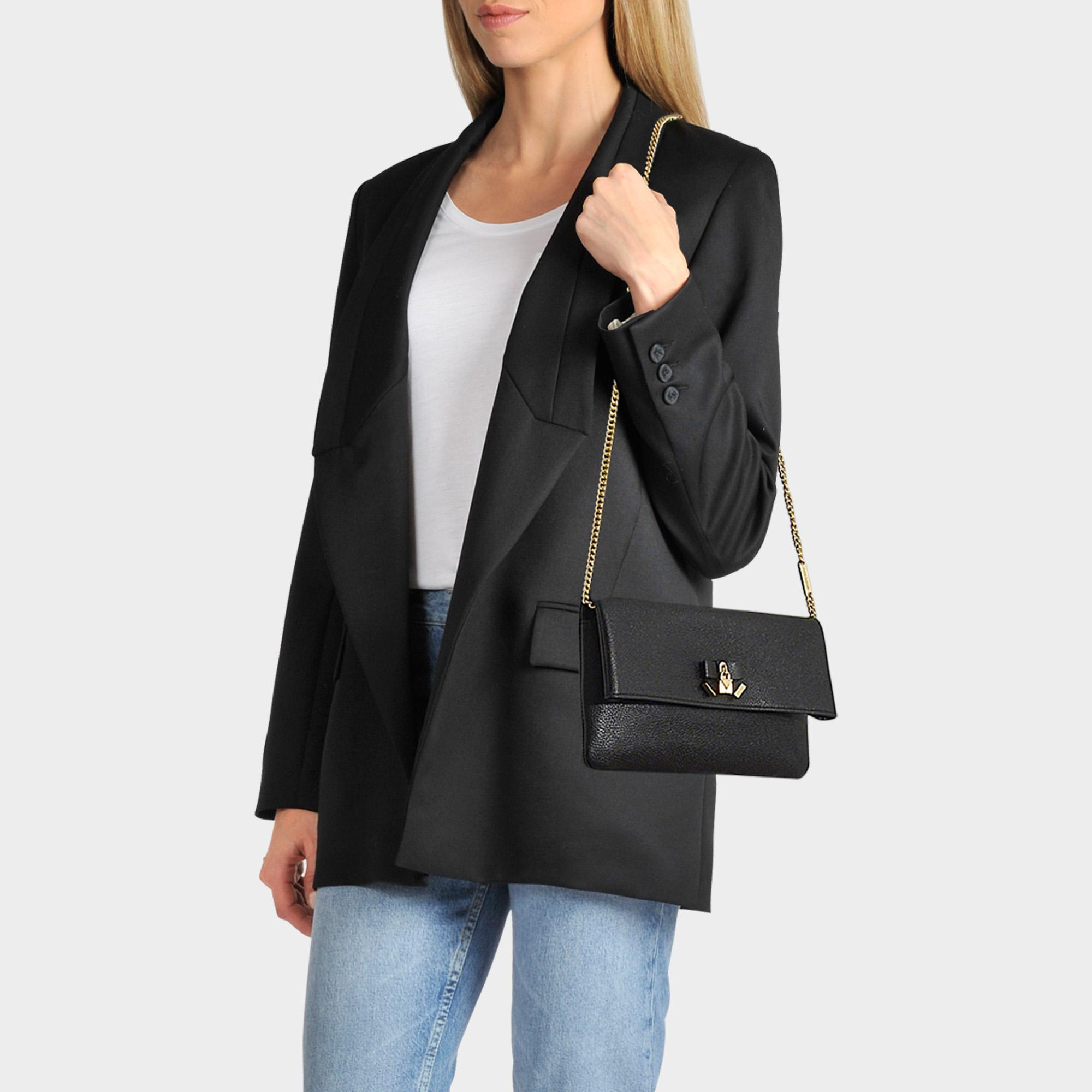 6e39b5856863 Lyst - MICHAEL Michael Kors Everly Medium Fold Over Clutch In Black ...