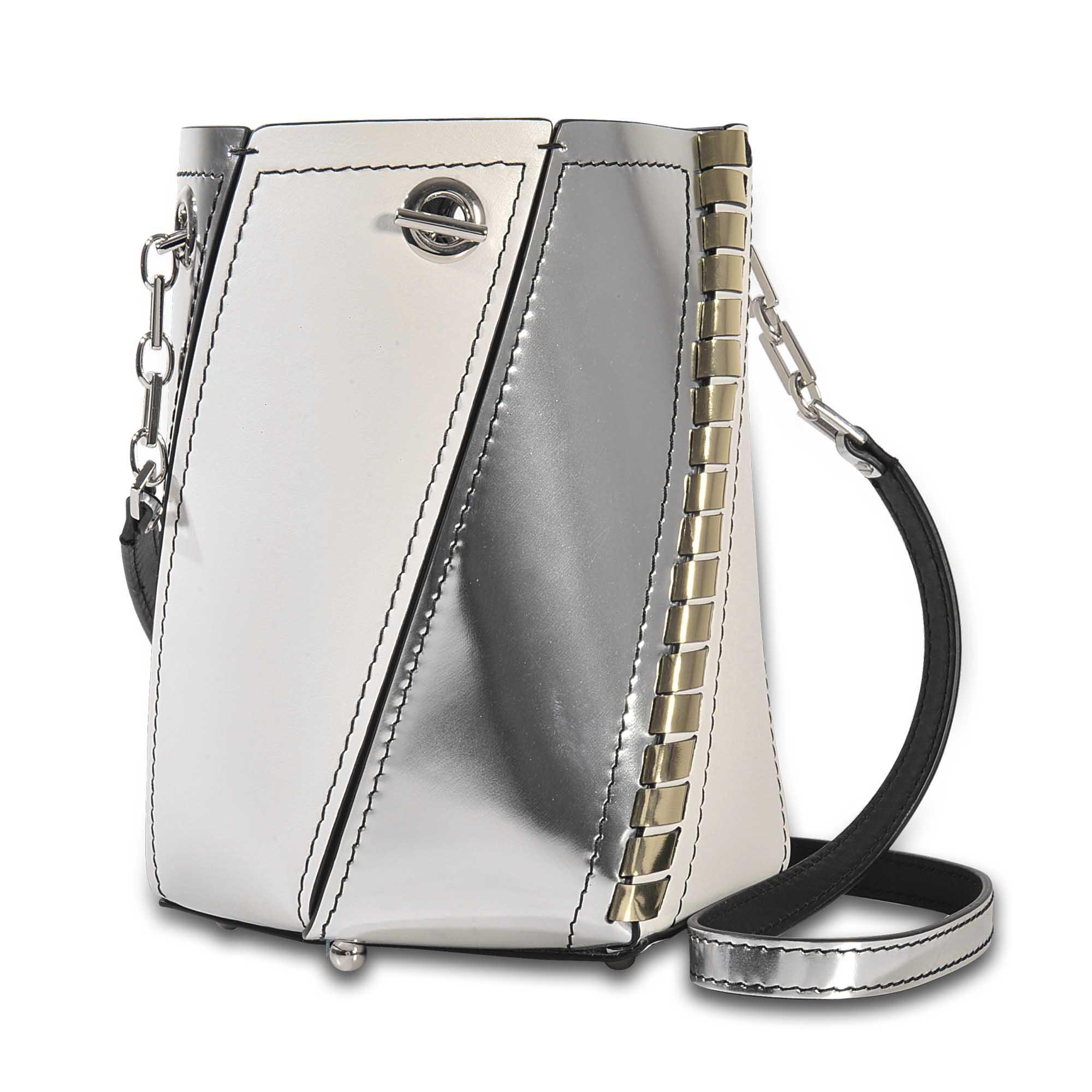 White Silver Hex Mini bucket bag Proenza Schouler OEFj3