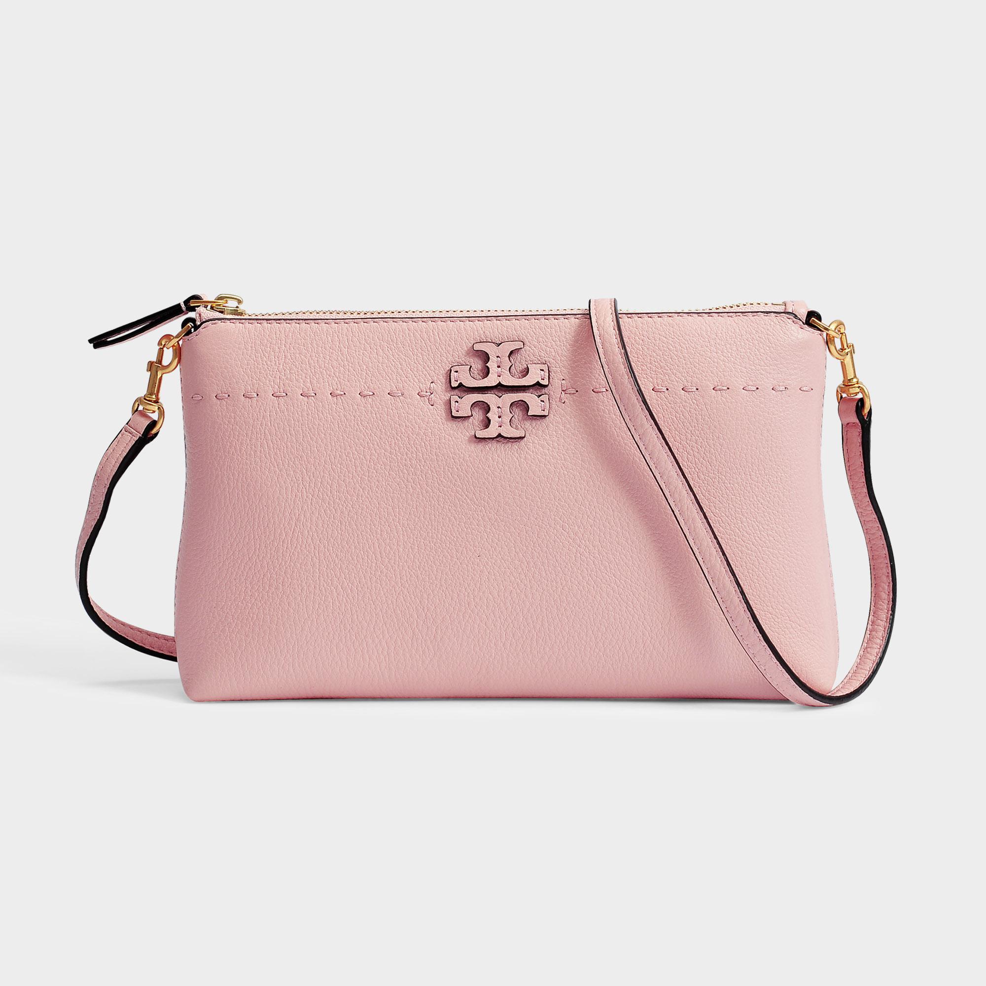 2696be8458 Tory Burch Mcgraw Top Zip Crossbody Bag in Pink - Lyst