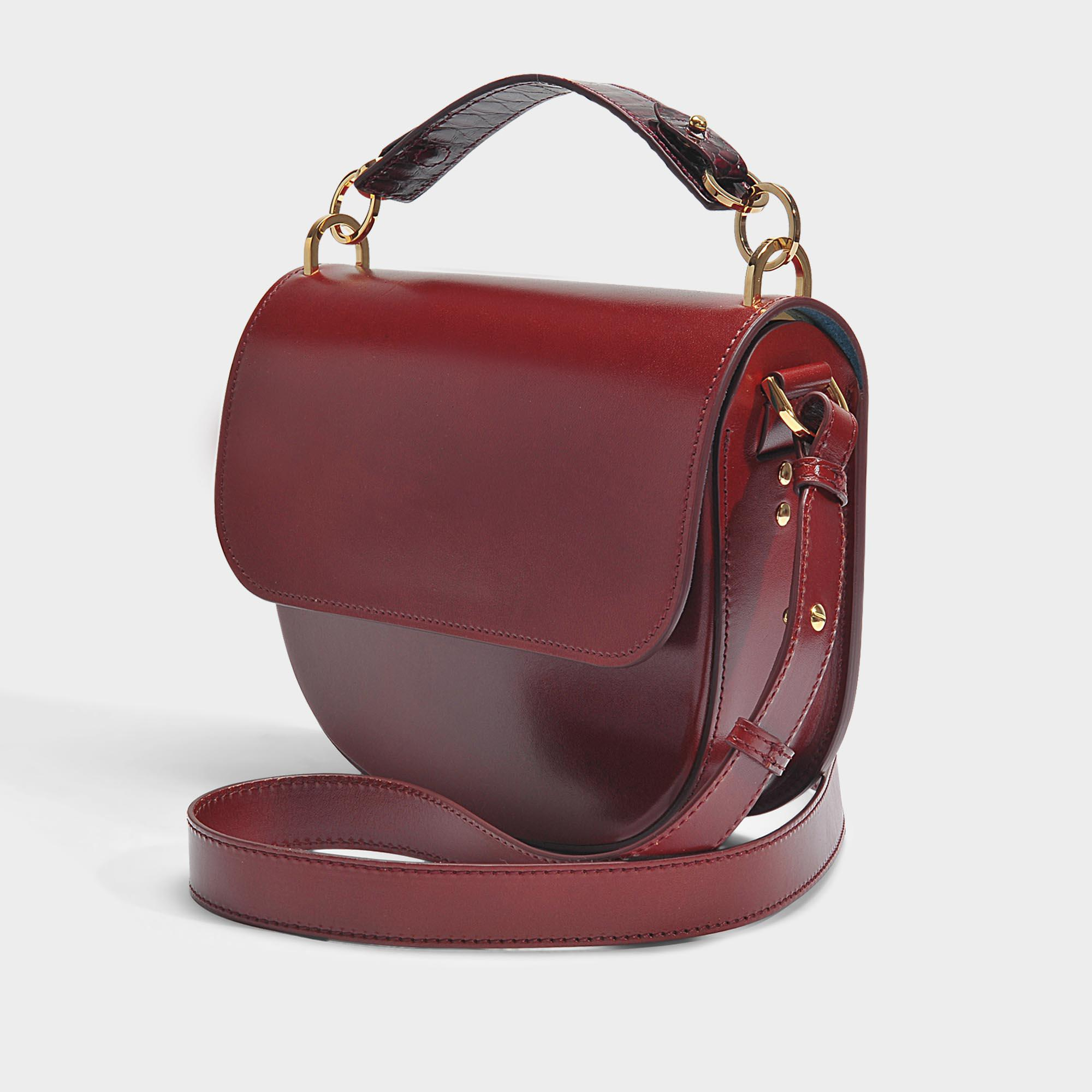 The Bow Bag in Brown and Burgundy Cow Leather and Python Sophie Hulme Free Shipping Cheap Price Free Shipping For Cheap Sale Ebay Best Seller Sale Online Buy Cheap 100% Original gWEP2ZX